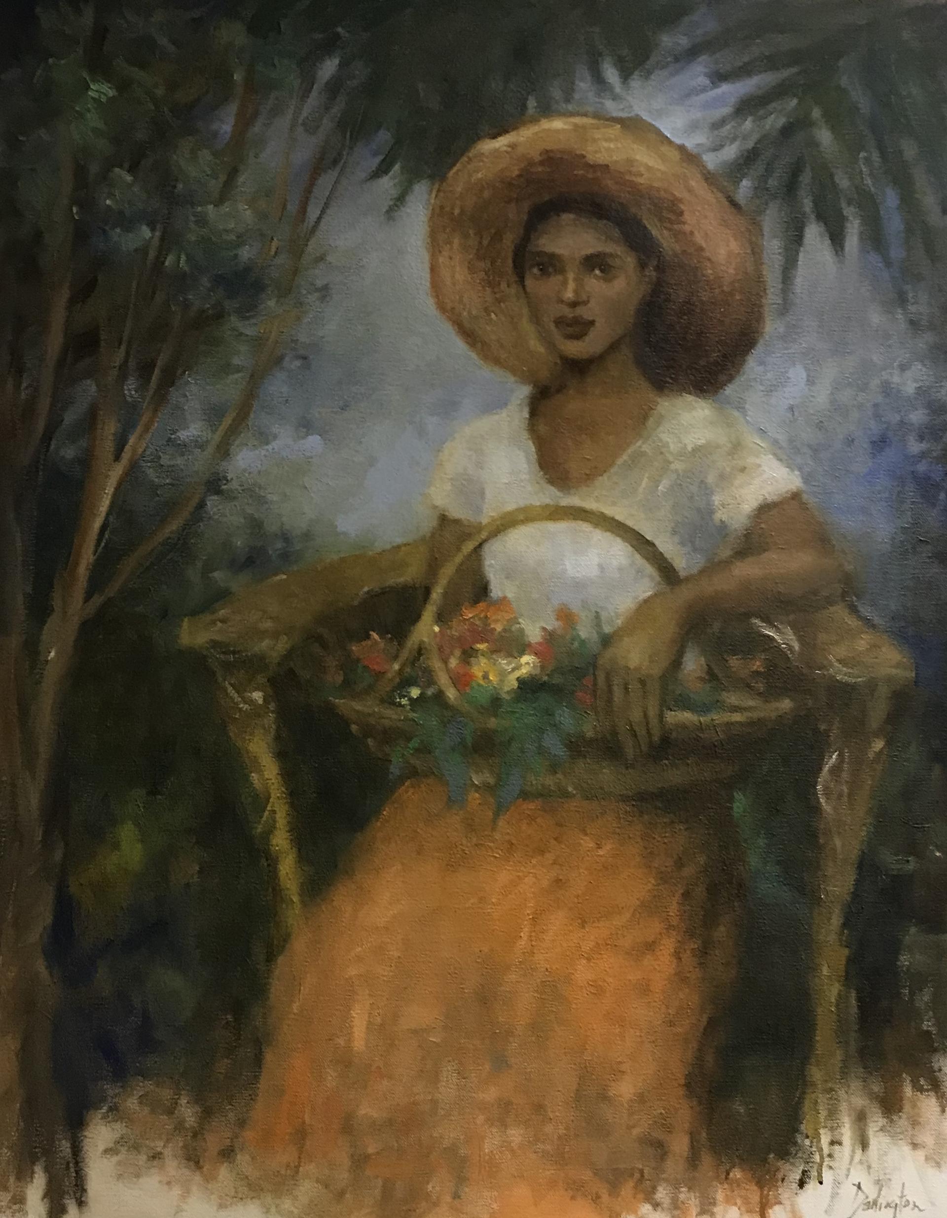 Girl with Sweetgrass Basket by Jim Darlington