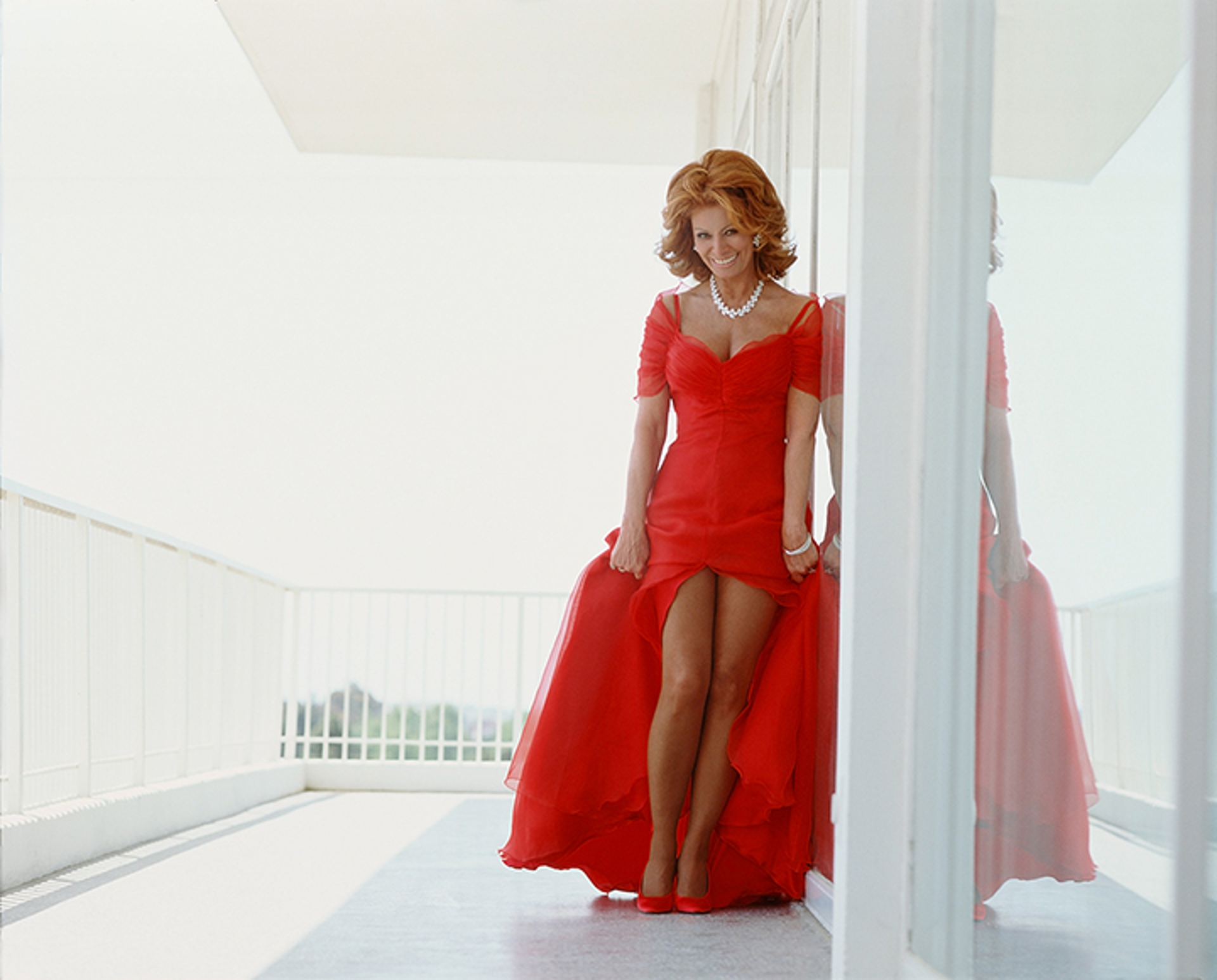 99023 Sophia Loren Leaning in Red Dress Color by Timothy White