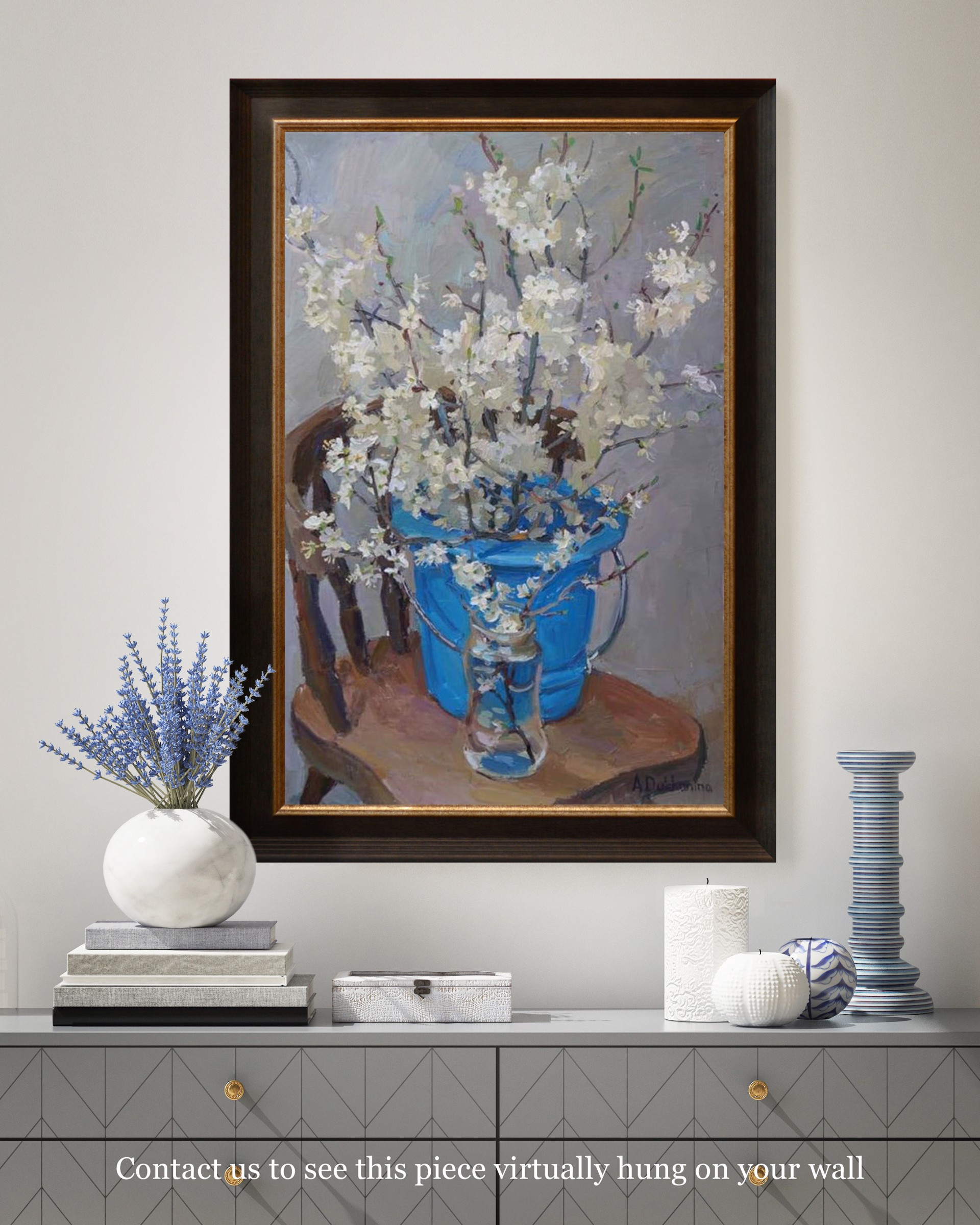 Flowers in the Blue Bucket by Anastasia Dukhanina