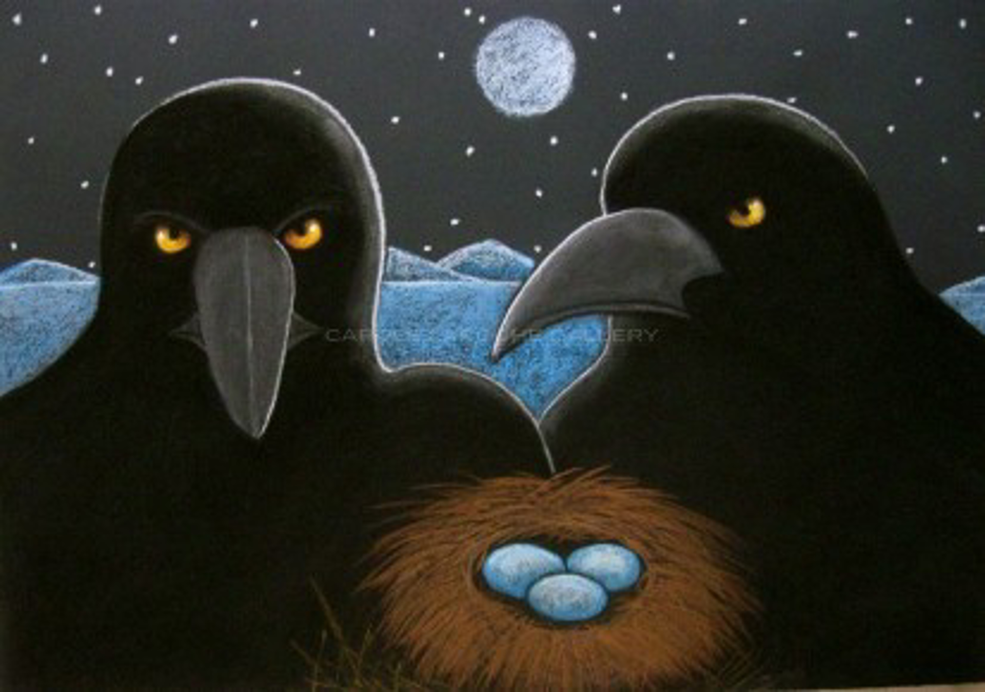 """MIDNIGHT RAVENS NEST- limited edition giclee on canvas or on paper w/frame size of: (large) 37""""x54"""" $3700 or (medium) 30""""x44"""" $2200 by Carole LaRoche"""