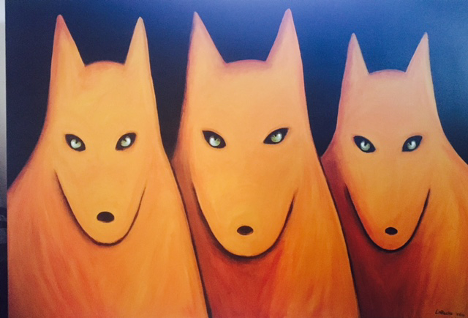 """NIGHT SKY/THREE GOLDEN WOLVES - limited edition giclee on canvas: (large) 40""""x60"""" $3500 or (medium) 30""""x40"""" $2200 by Carole LaRoche"""