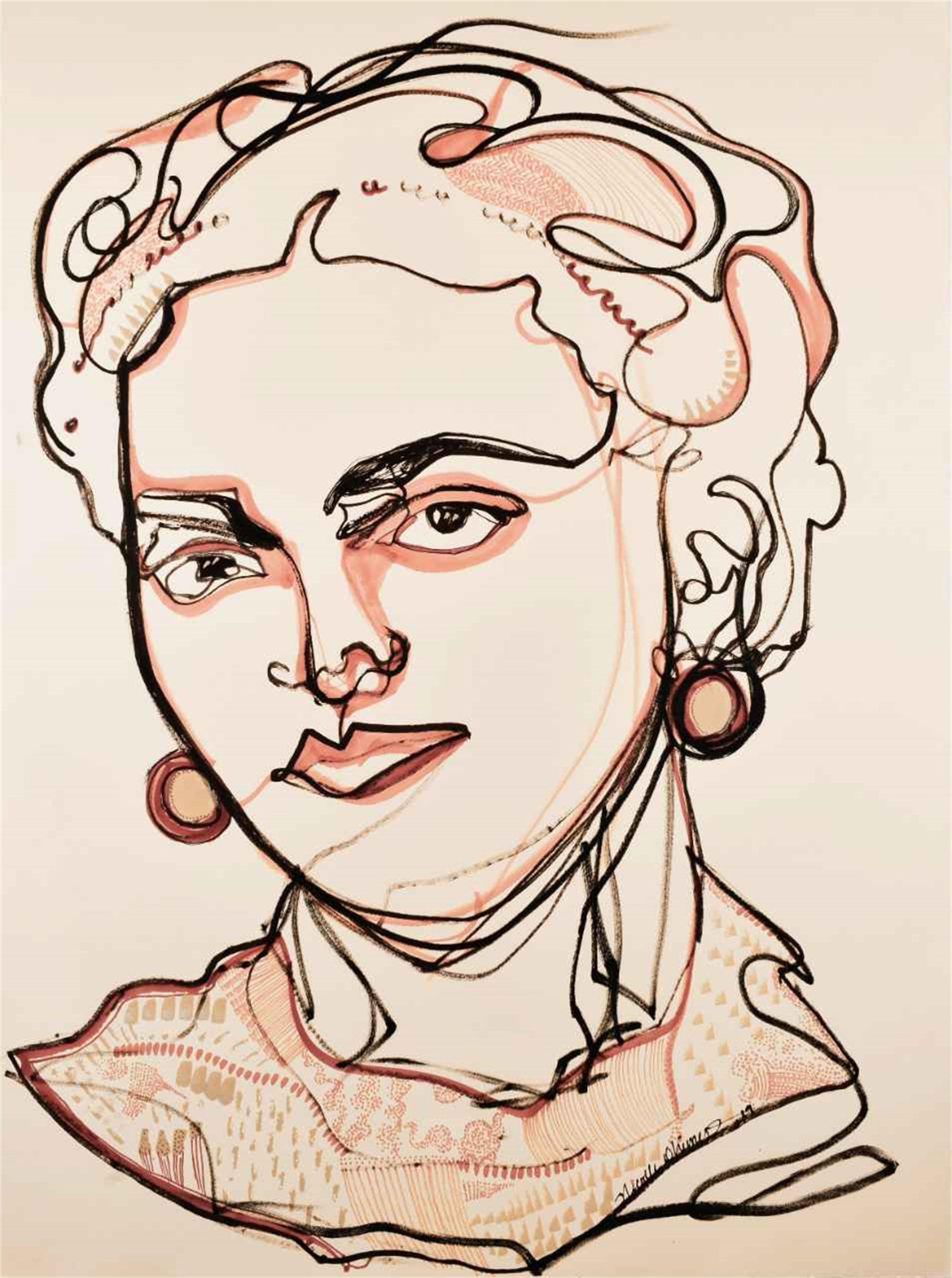 Frida One Line Drawing by Nicolle Dhimes