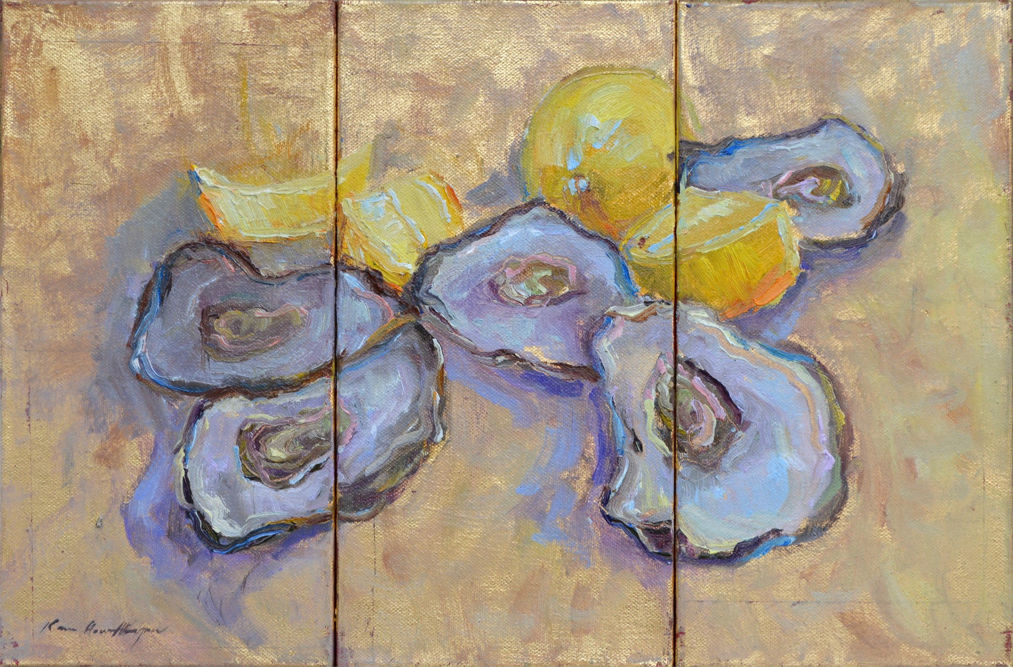 Oysters on Gold 1,2,&3 (Triptych) by Karen Hewitt Hagan