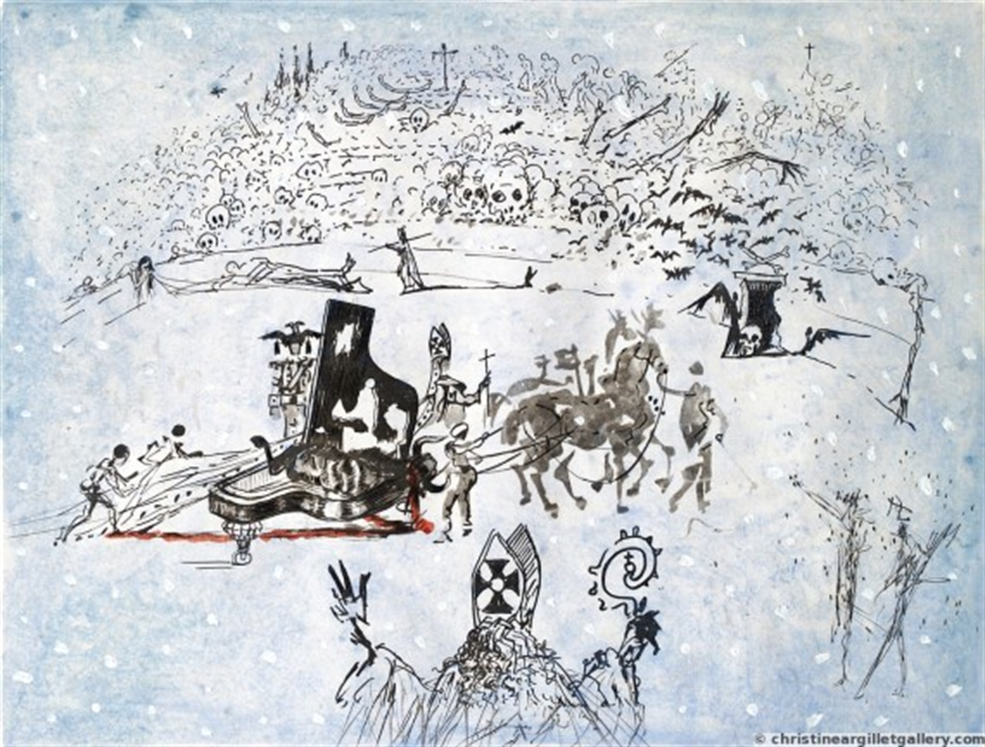 "Surrealist Bullfight ""Piano under the snow"" by Salvador Dali"
