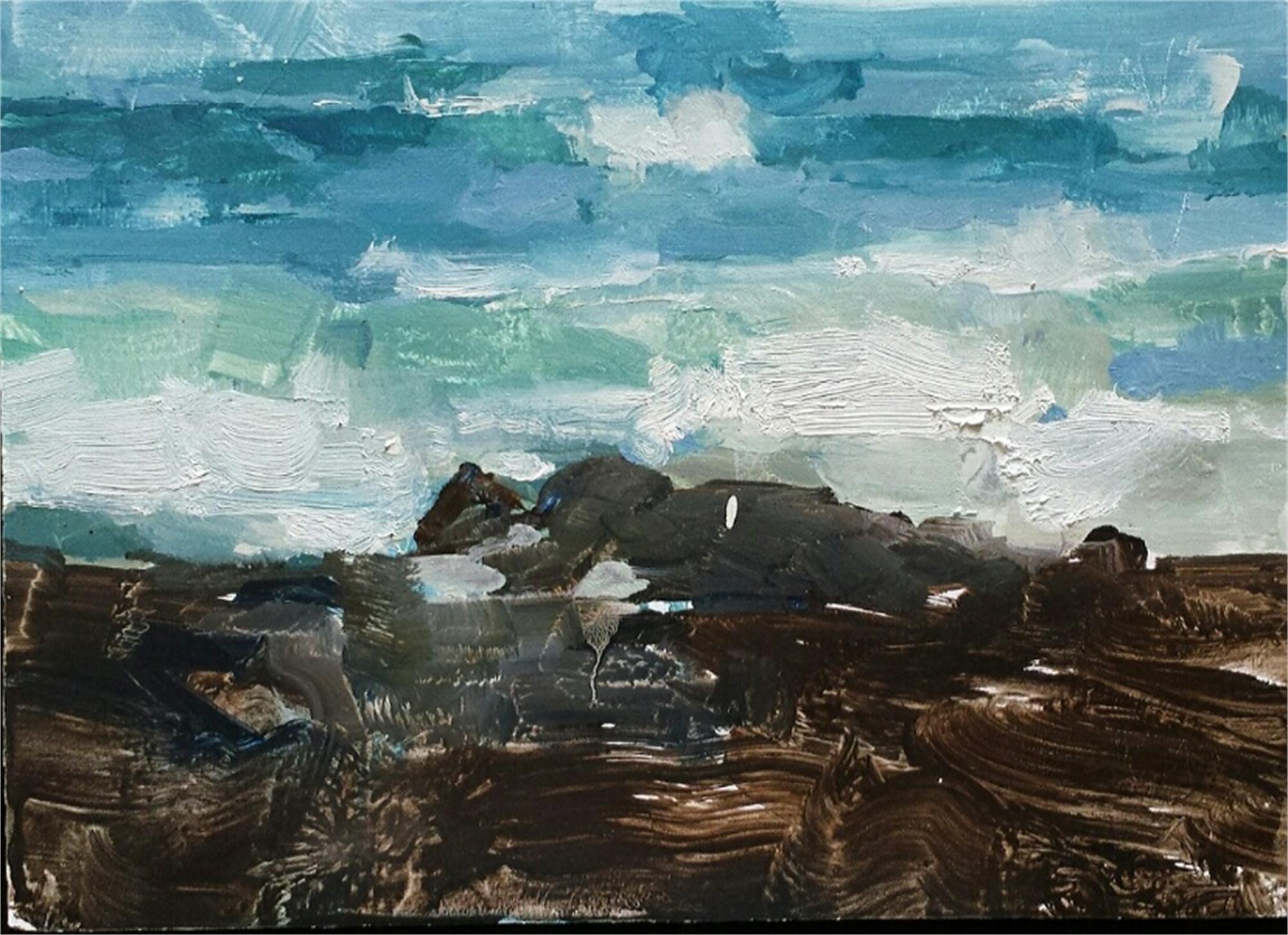 Kona Wave (plein air) by James Kroner