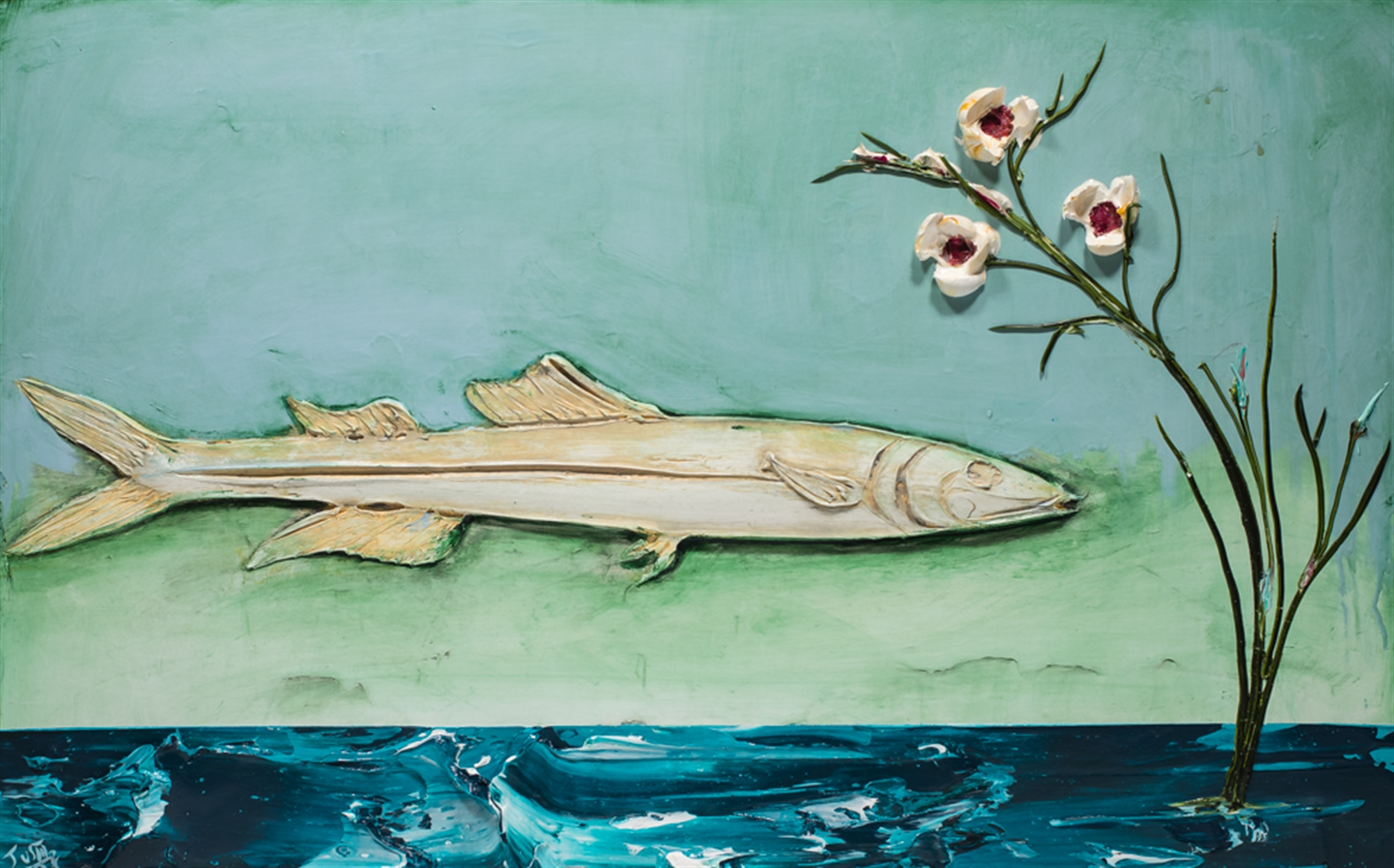 PIN FISH AND FLORAL PF48X30-2018-293 by Justin Gaffrey