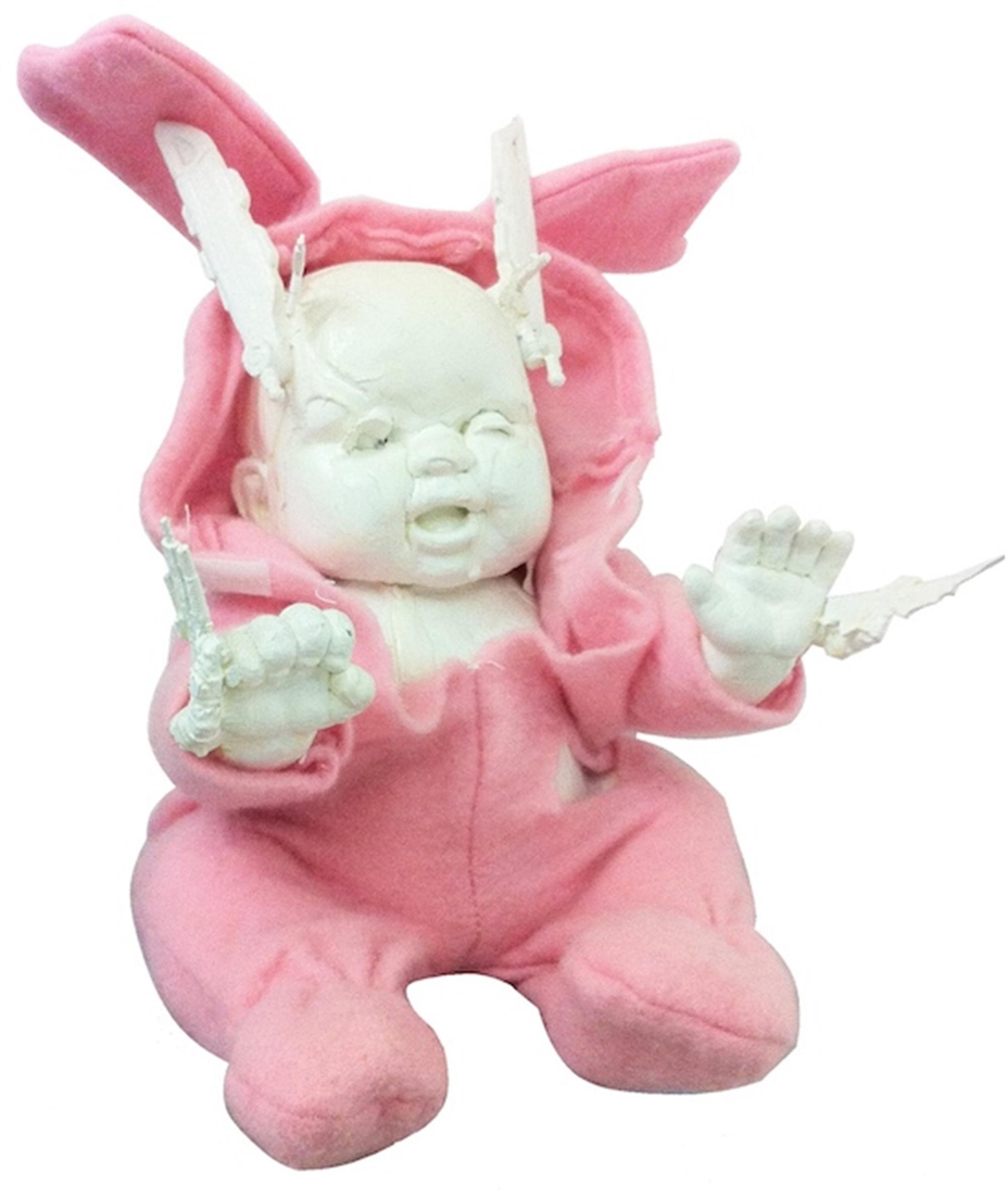 Armed Baby In Pink Bunny Suit by Leonardo Diaz