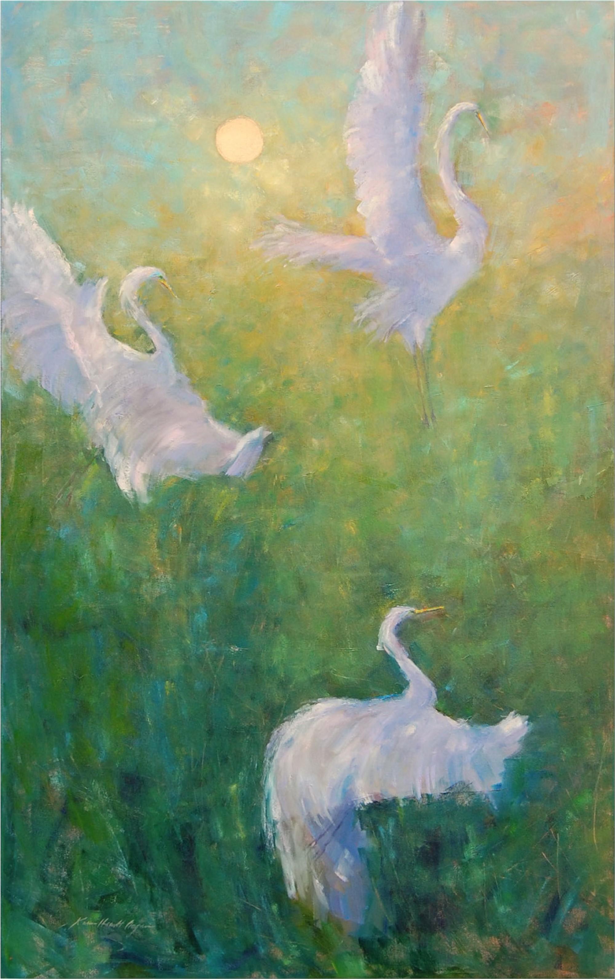 Ascent of the Great Egret I by Karen Hewitt Hagan