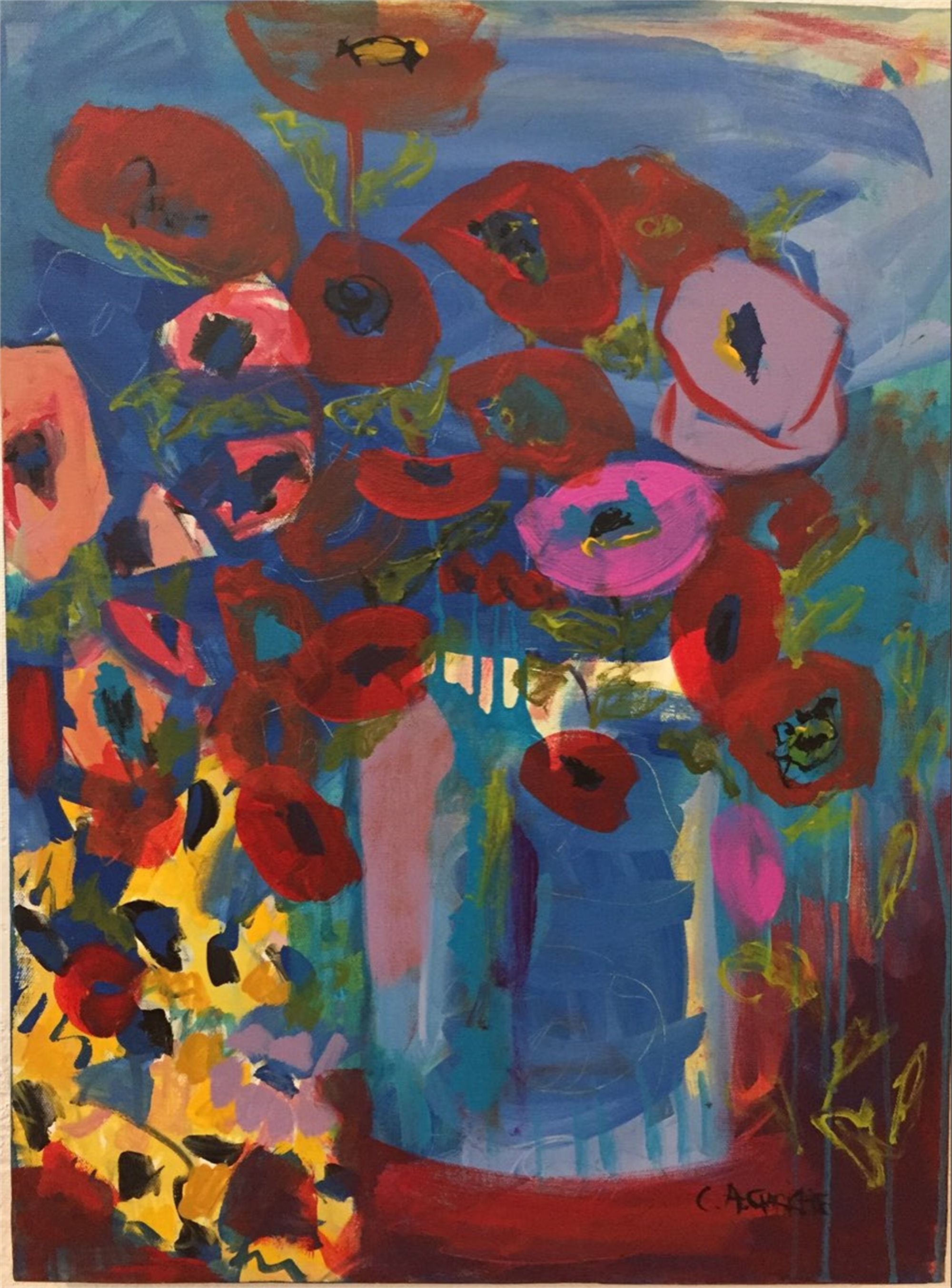 Poppy and Sunflowers In Blue Vase by Carol Christie