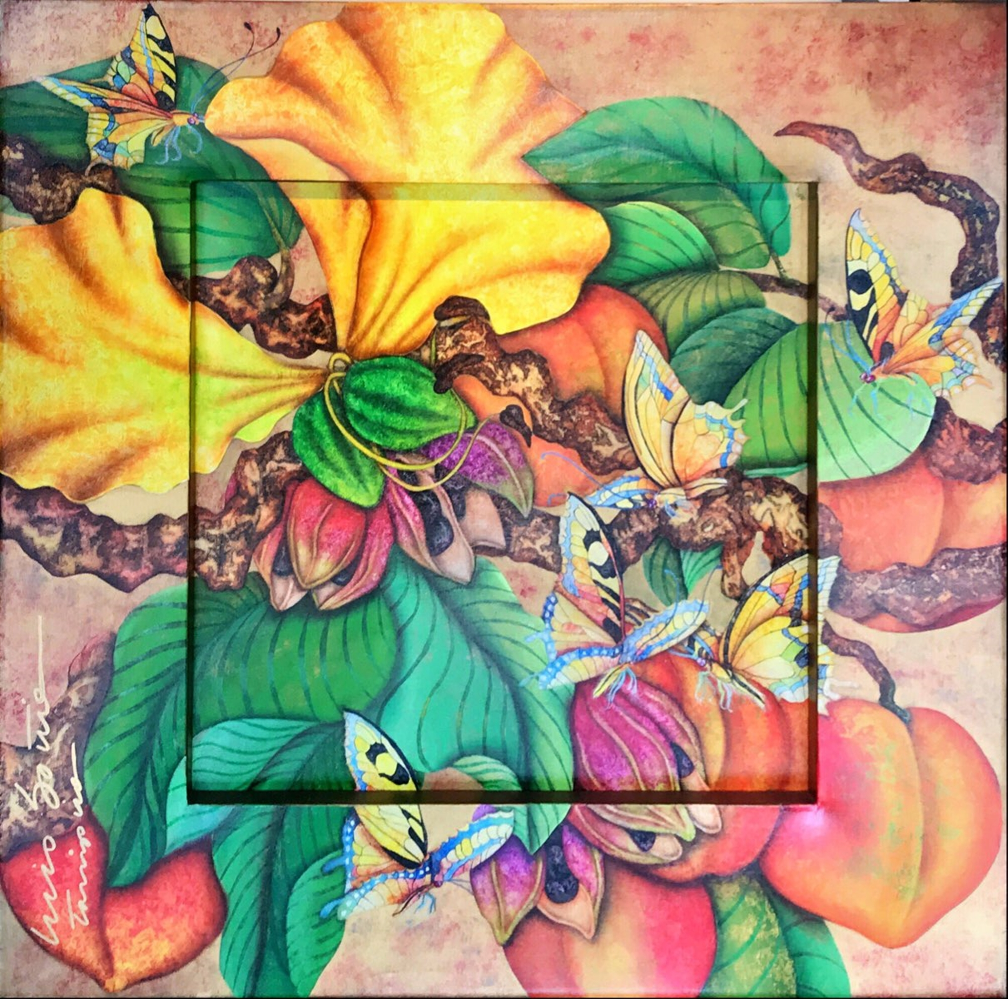 Floral With Butterflies by Luis Sottil