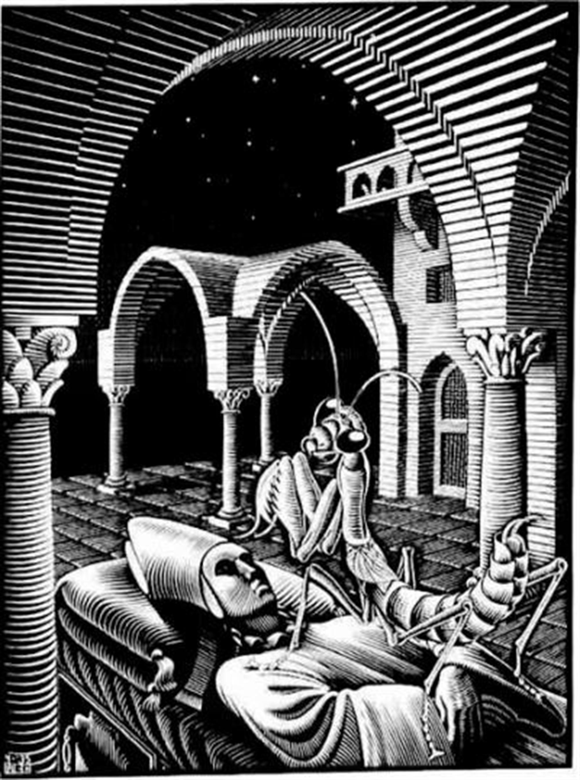 Dream Mantis Religiosa by M.C. Escher