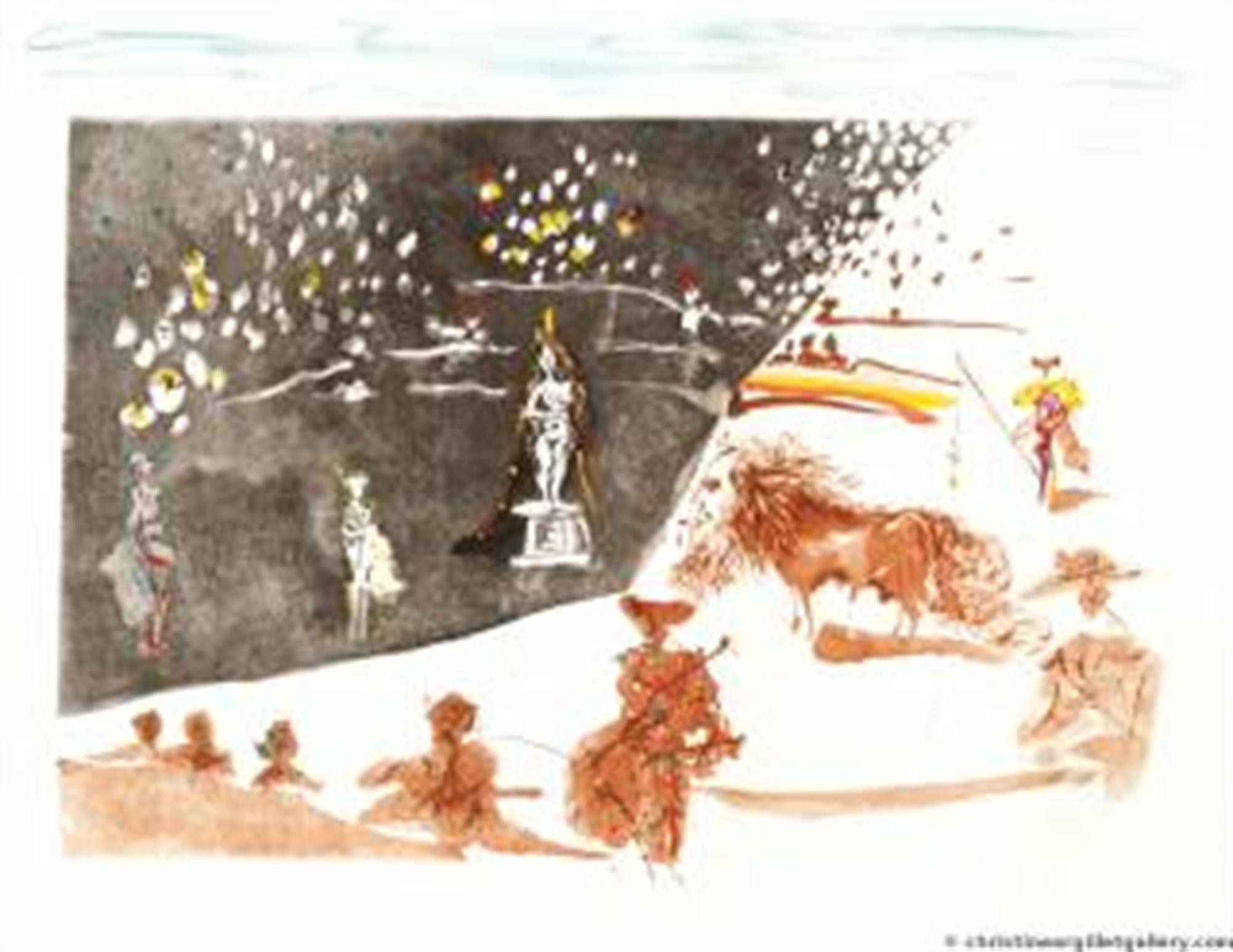 "Surrealist Bullfight ""Bullfight with Statue"" by Salvador Dali"