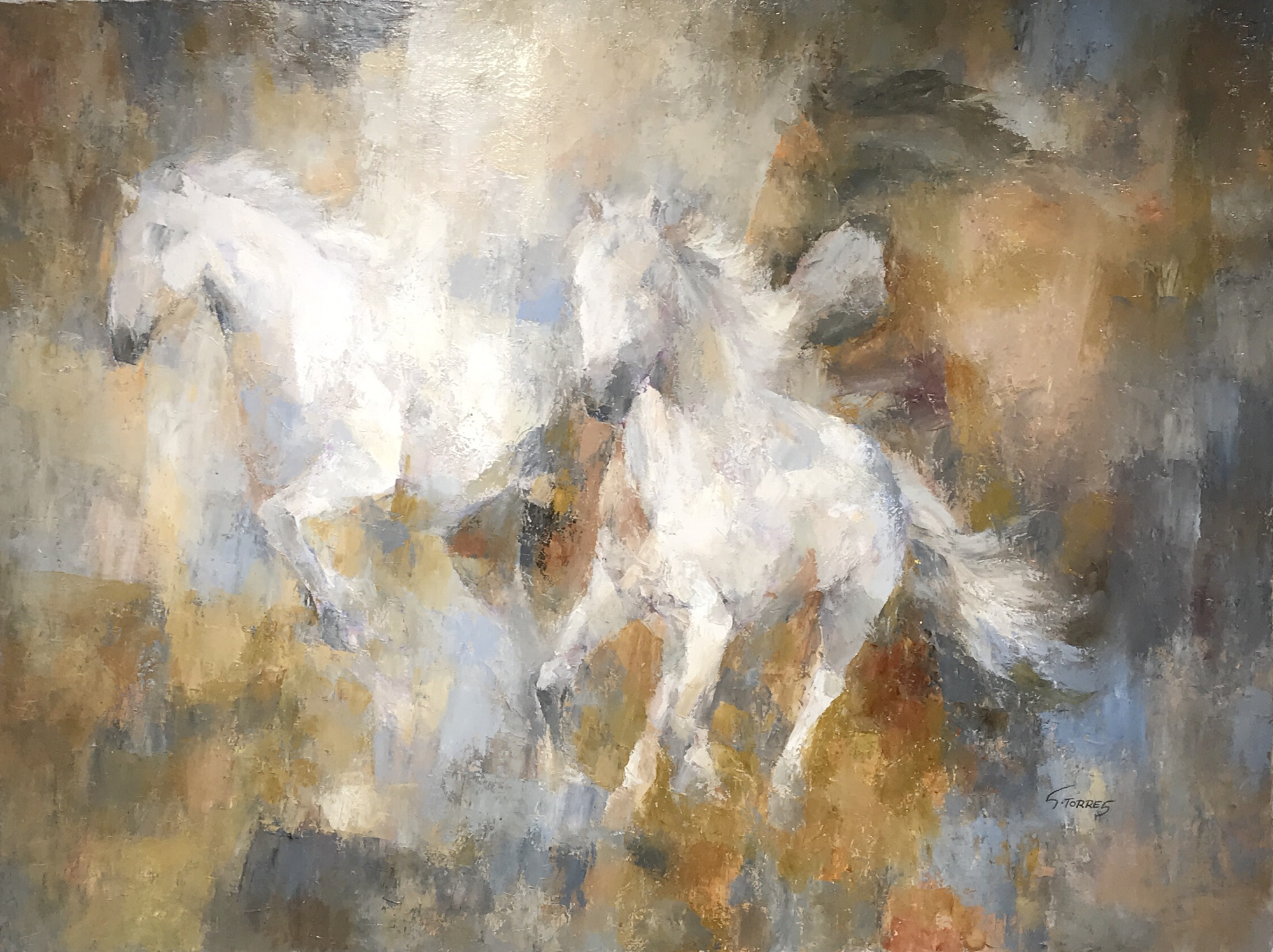 THREE HORSES IN GOLDS AND BROWNS by S TORRES