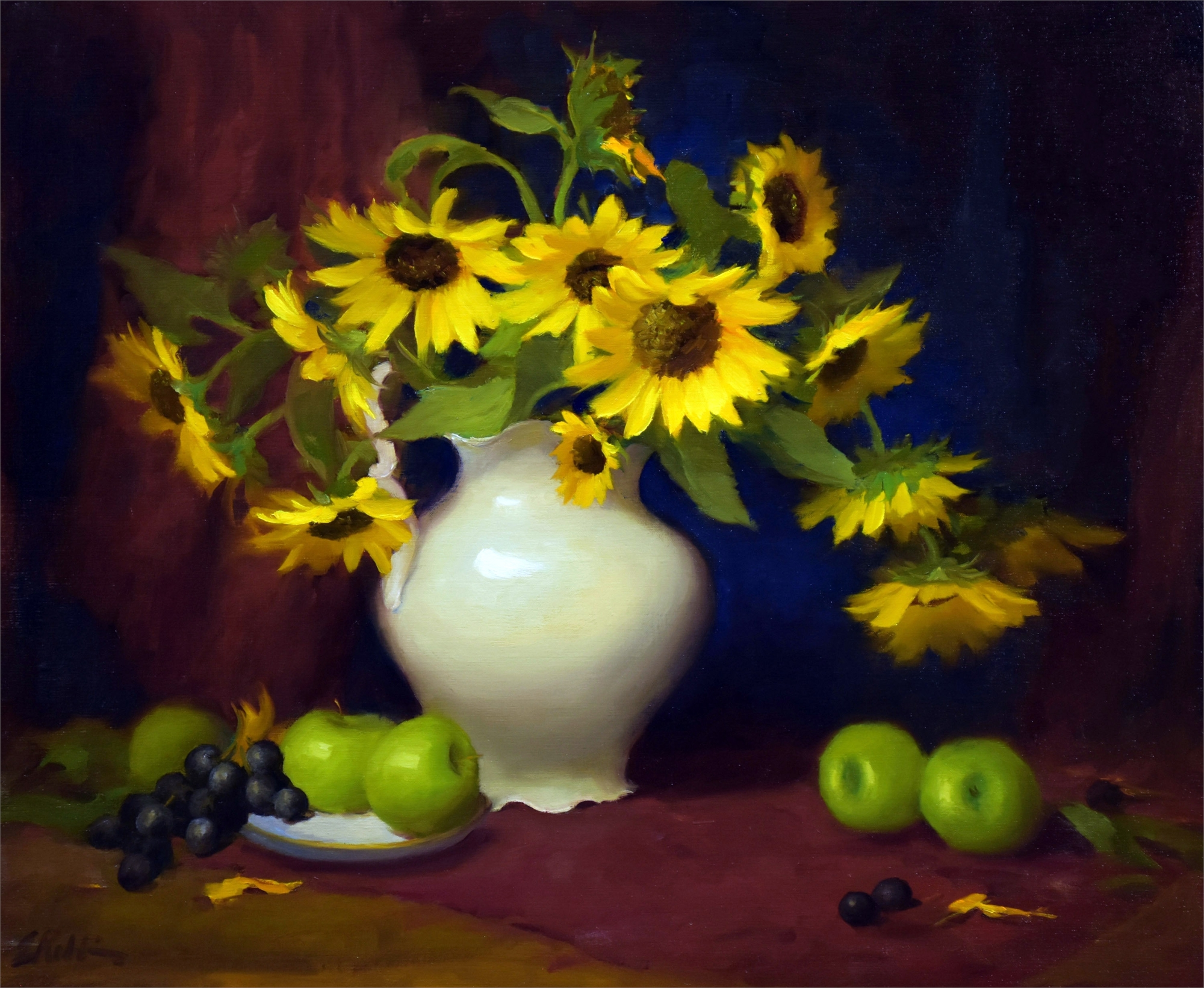 Sunflowers and Apples by Elizabeth Robbins