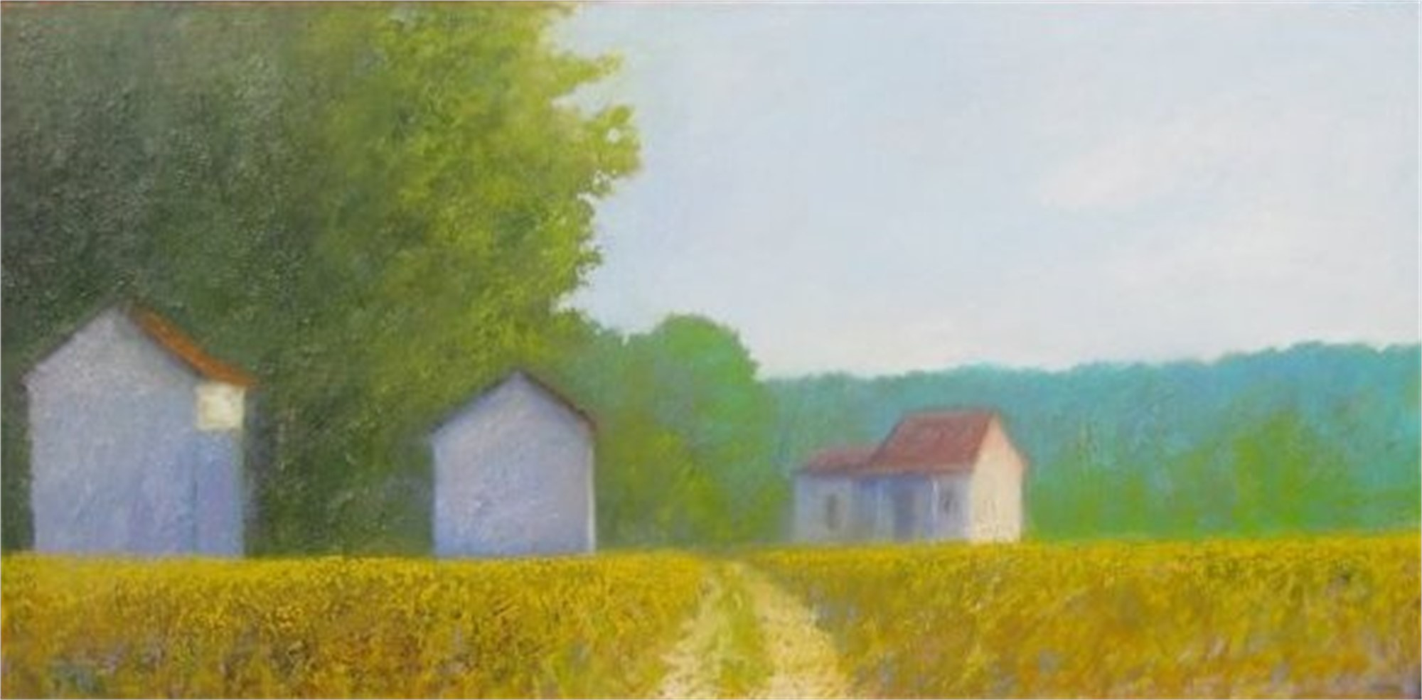 Farm Buildings in Afternoon Sun by John Gaitenby