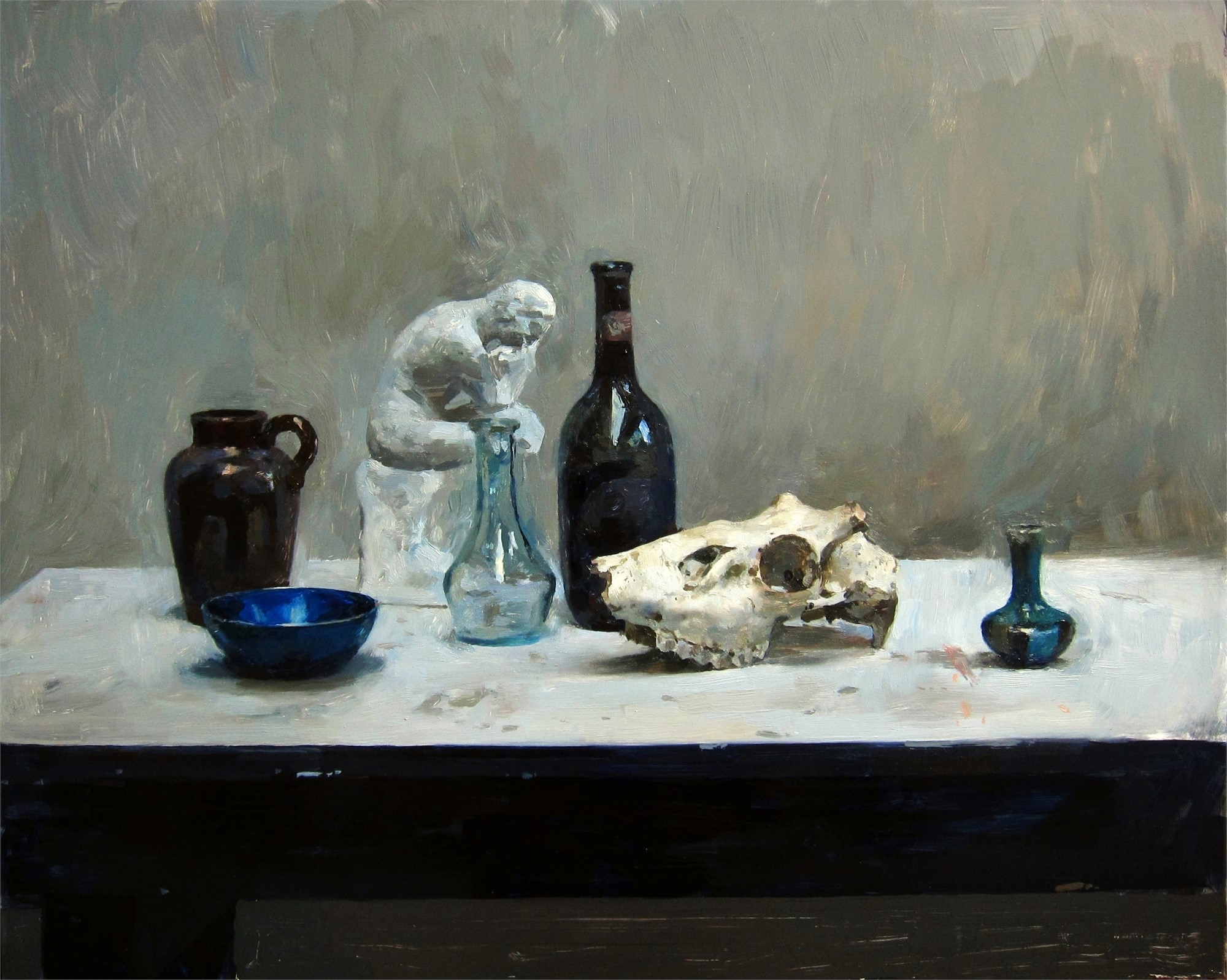 Still Life with Bottle and Skull by Hollis Dunlap