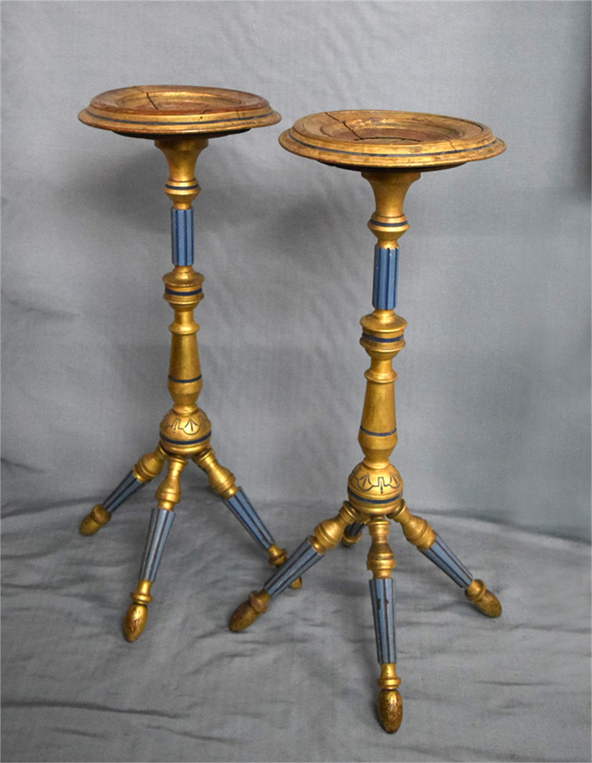 PAIR OF GILT-WOOD CANDLE STANDS