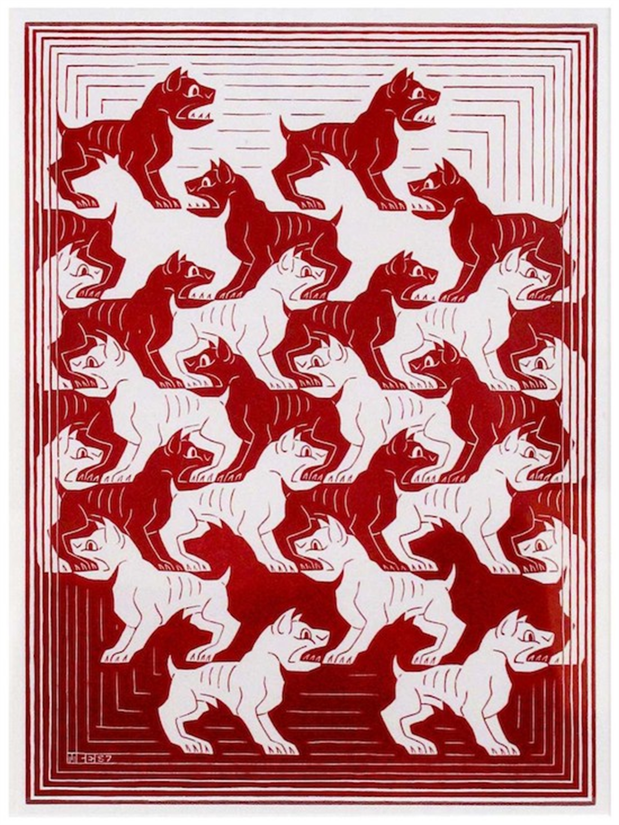 Regular Division of the Plane IV (Red) by M.C. Escher