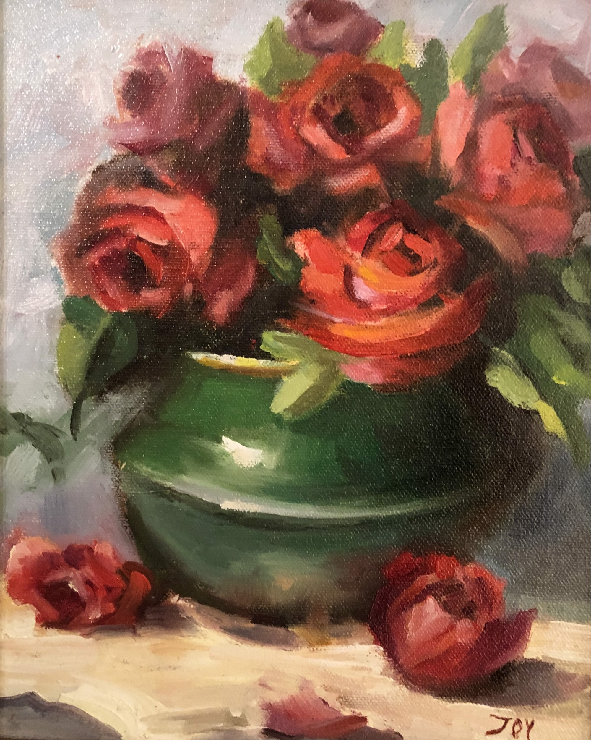 Red Roses, Green Vase by JOY