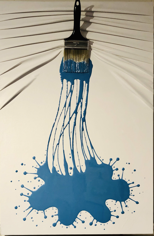 """Let's Paint"" medium, blue splash on White by Efi Mashiah"