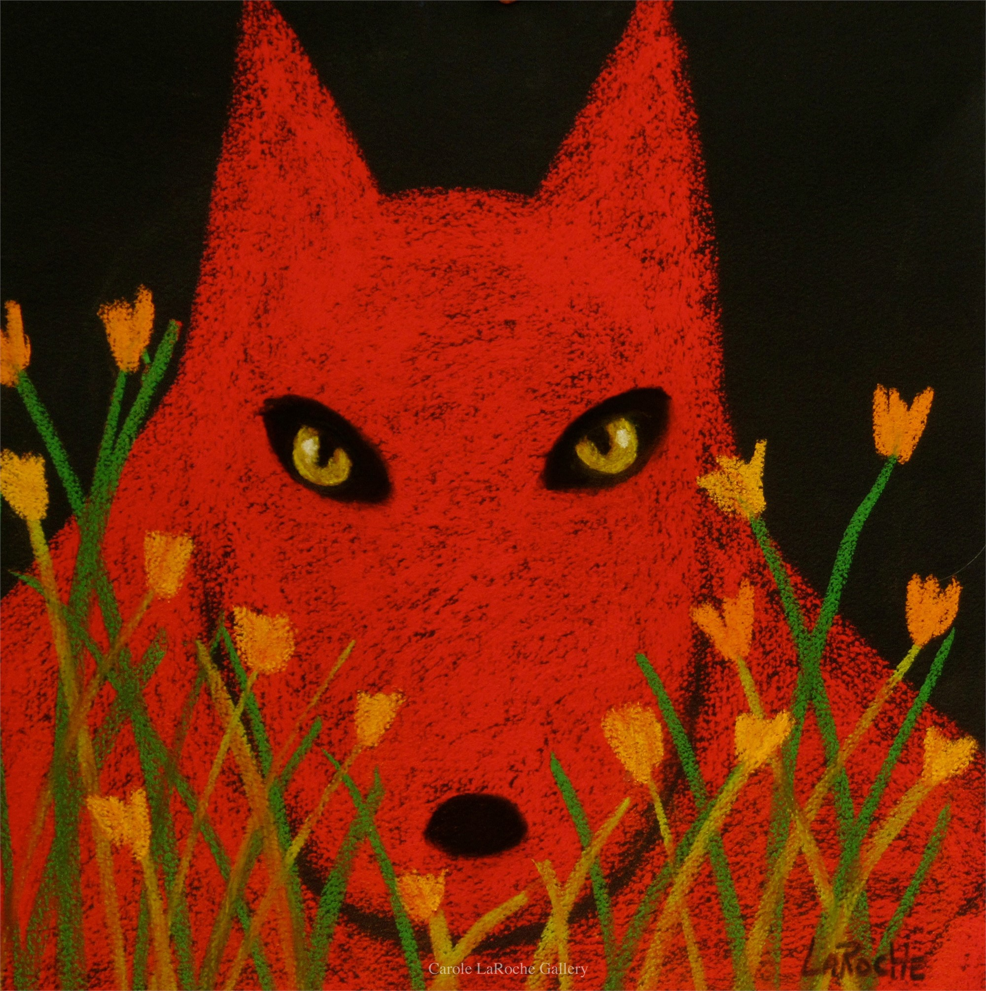 RED WOLF AND POPPIES by Carole LaRoche