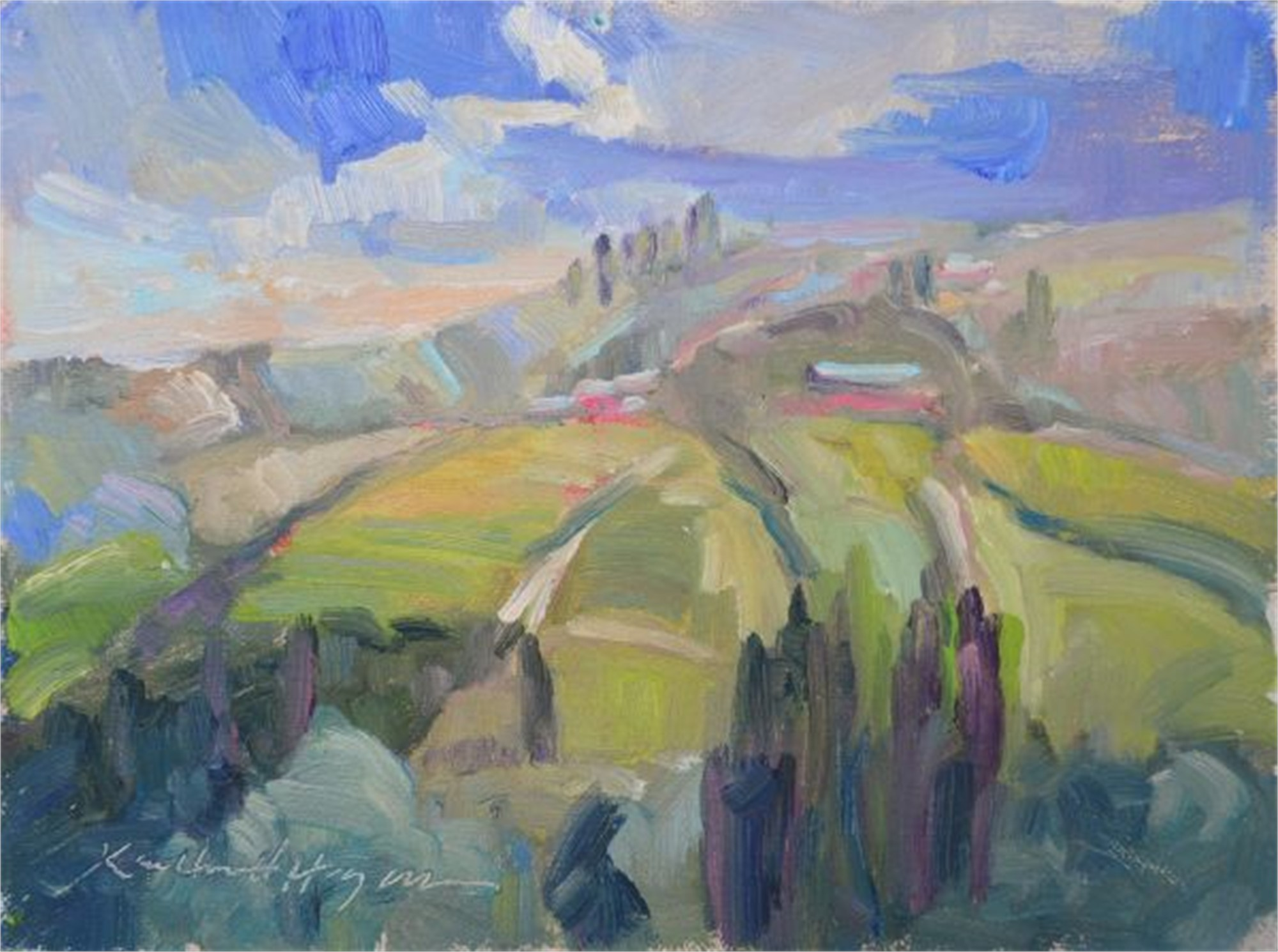 Looking Over Barbaresco Vineyards, Neive Italy by Karen Hewitt Hagan