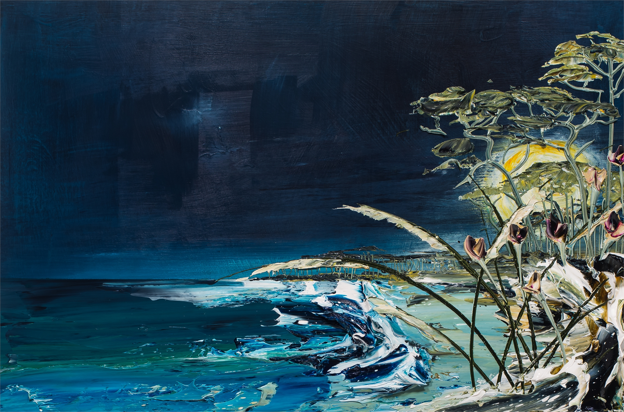 MOON OVER THE GULF SS36X24-2019-090 by Justin Gaffrey