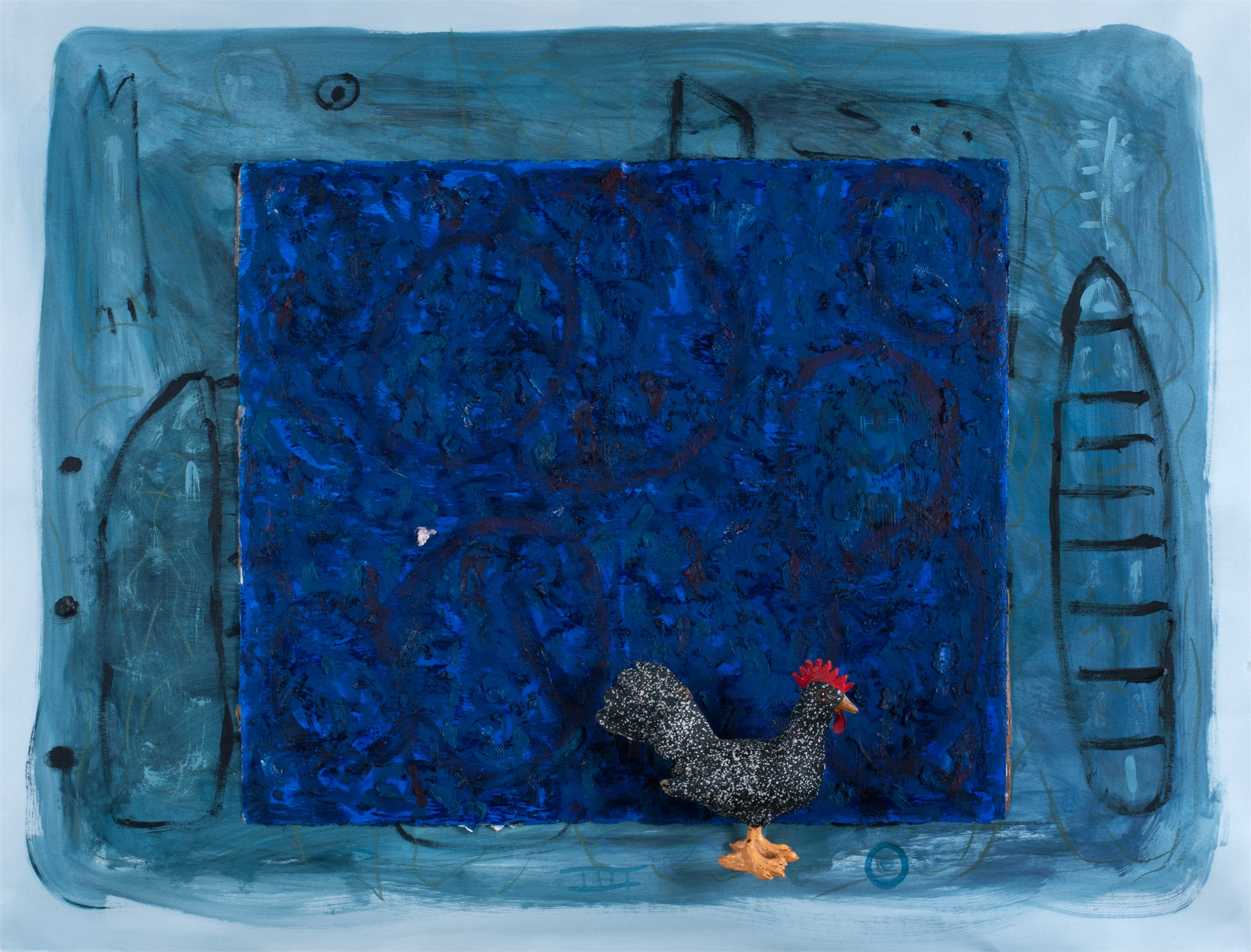 Rooster in a Blue Night by Floyd Newsum