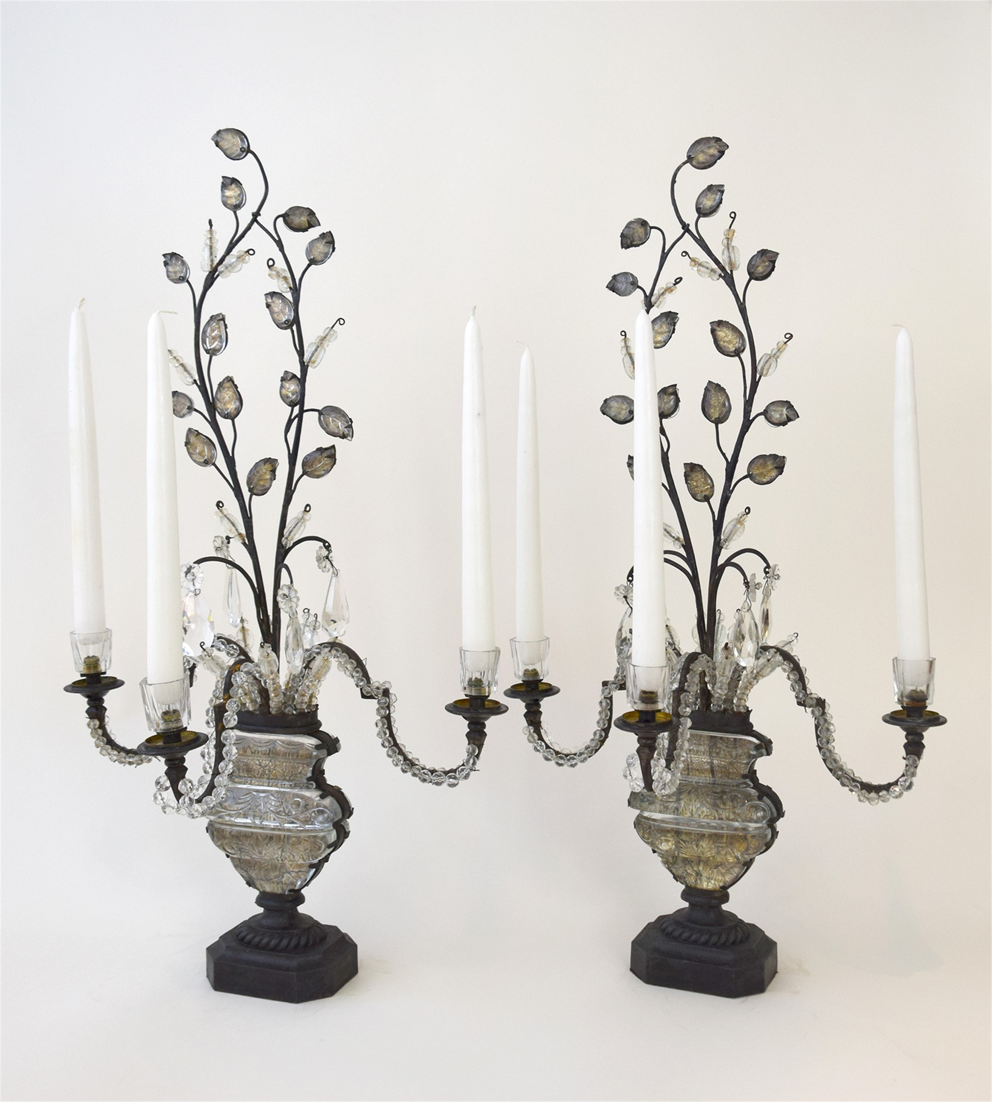PAIR OF BAGUES THREE-LIGHT CANDELABRA