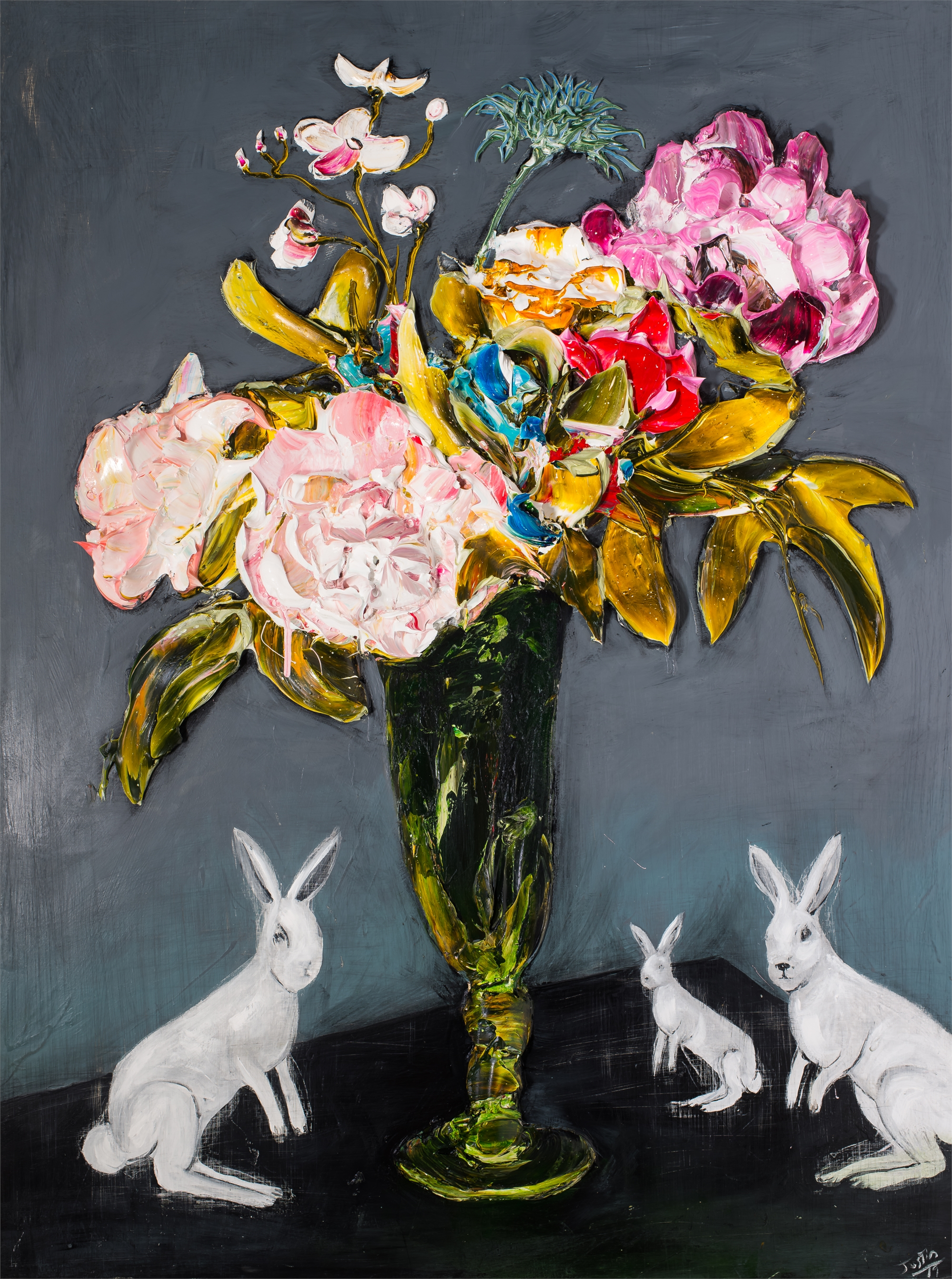 FLORAL STILL LIFE WITH RABBITS FSL36X48-2019-112 by Justin Gaffrey