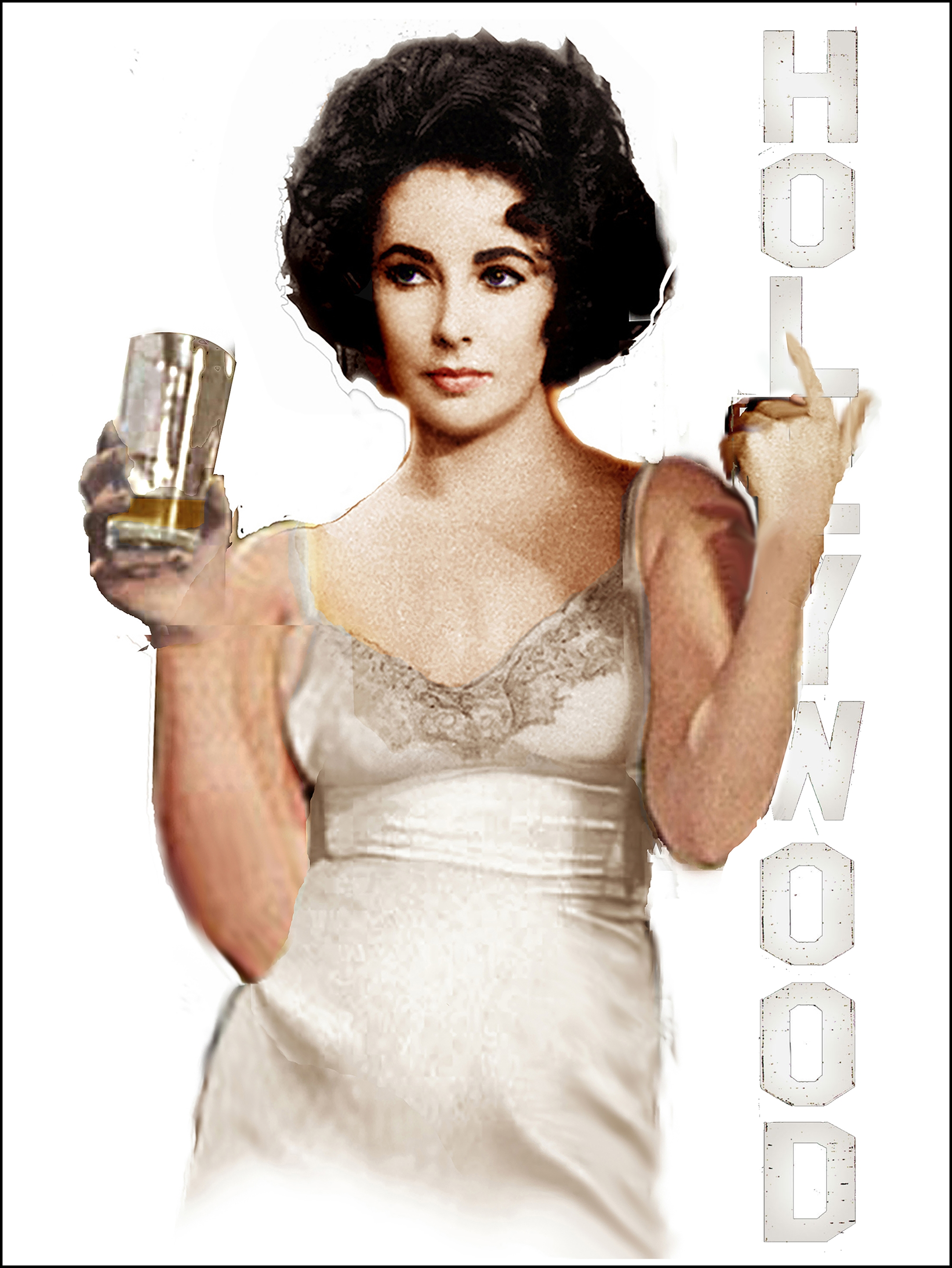 Liz Taylor Available as Commission- Size TBD by Bill Mack Hollywood Sign
