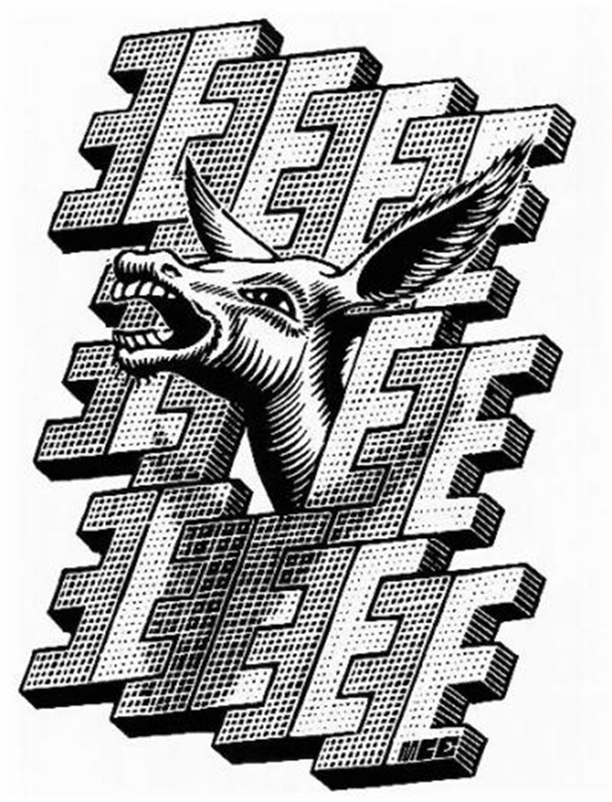 E is for Ezel (Donkey) by M.C. Escher