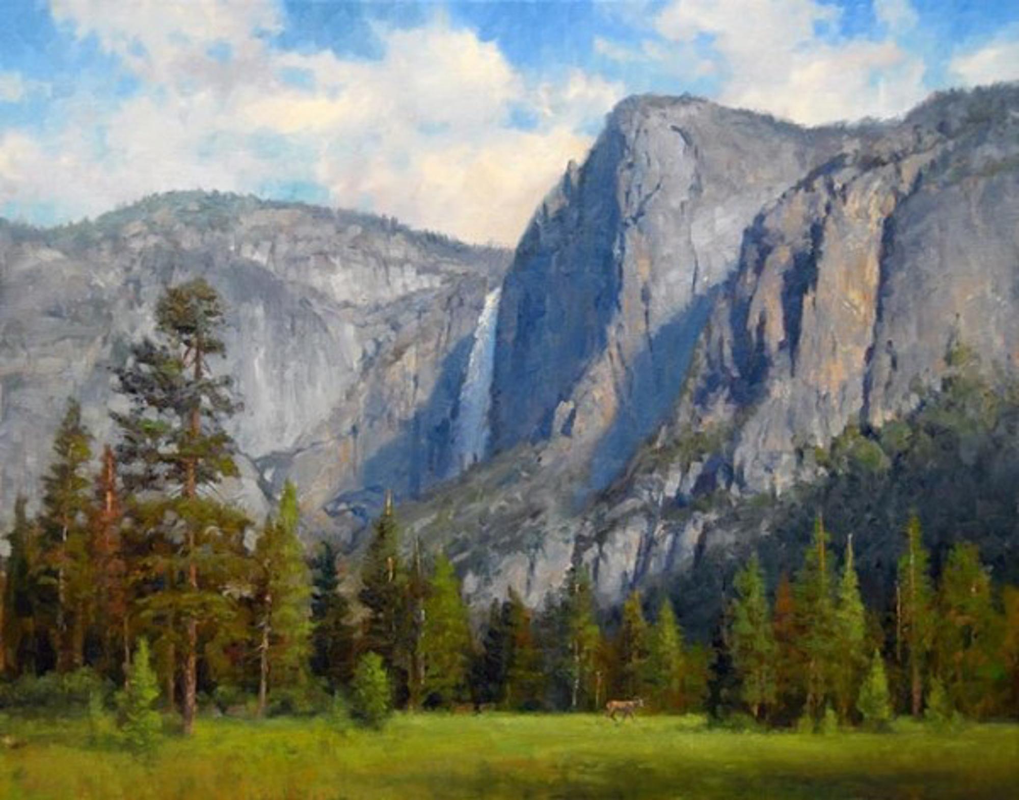 Yosemite Falls Yosemite Falls with Deer by Jim Wilcox