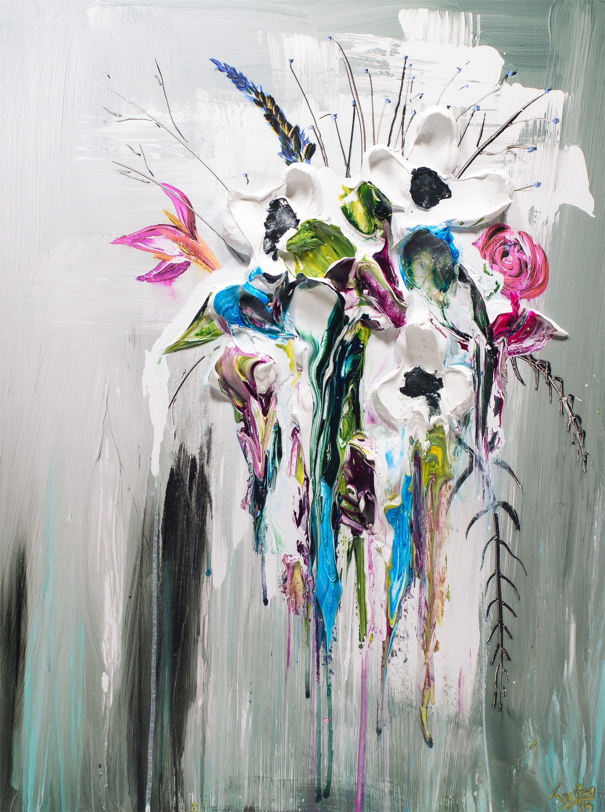 ABSTRACT FLORAL BOUQUET HPAE 9/50 by JUSTIN GAFFREY