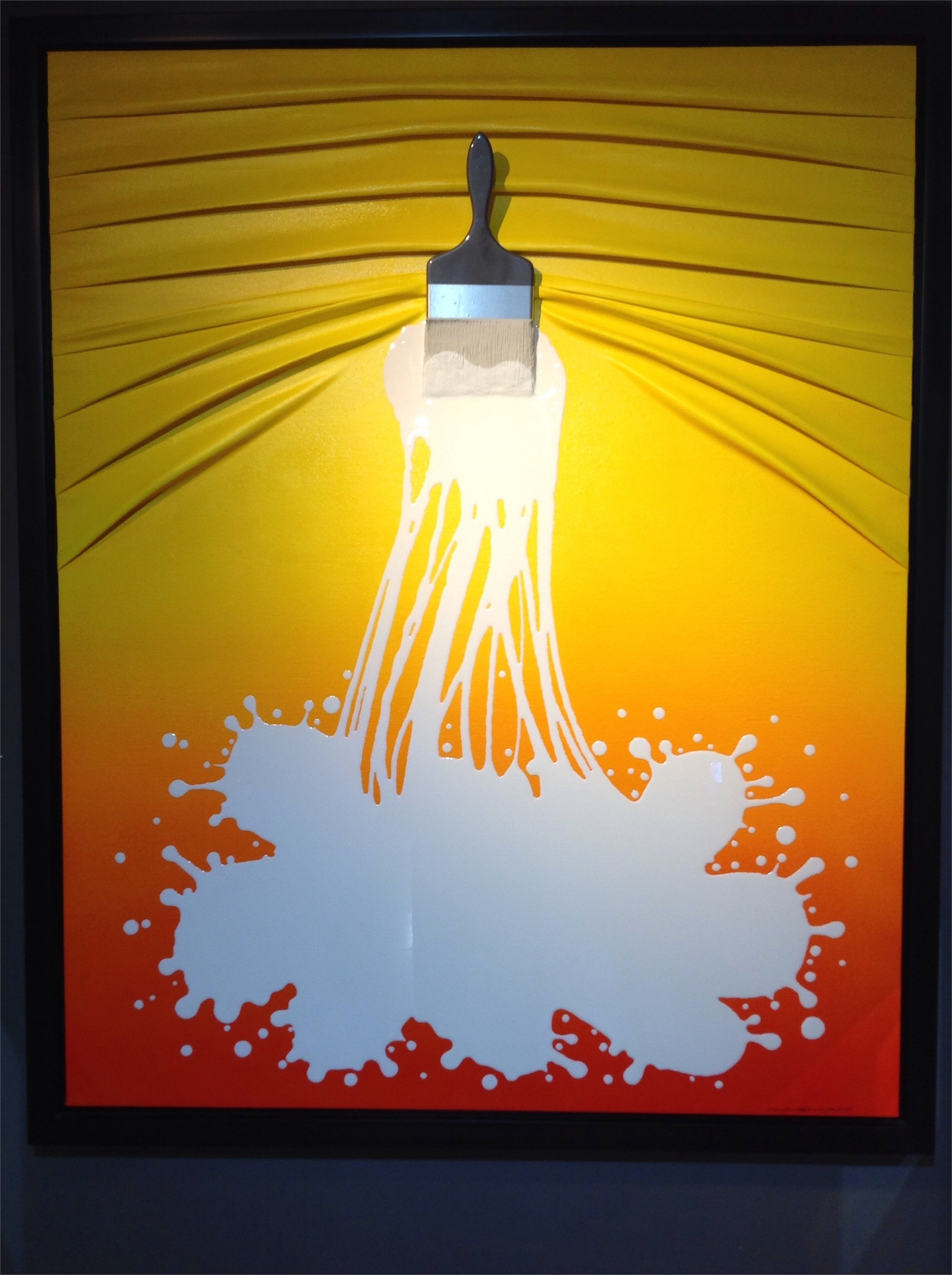 """Lets Paint"" White on Yellow/Orange Ombre by Efi Mashiah"