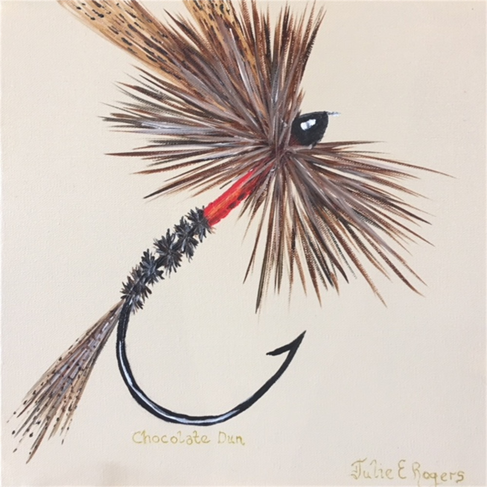 Chocolate Dun Dry Fly by Julie Rogers