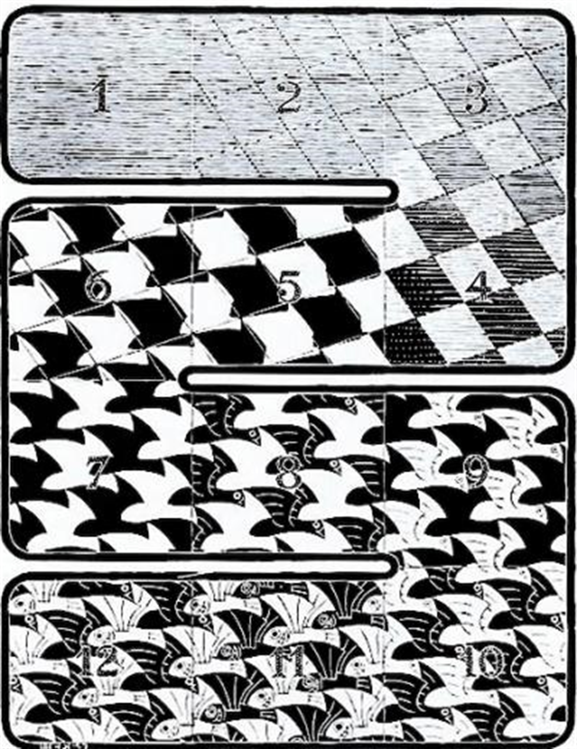 Regular Division of the Plane I by M.C. Escher