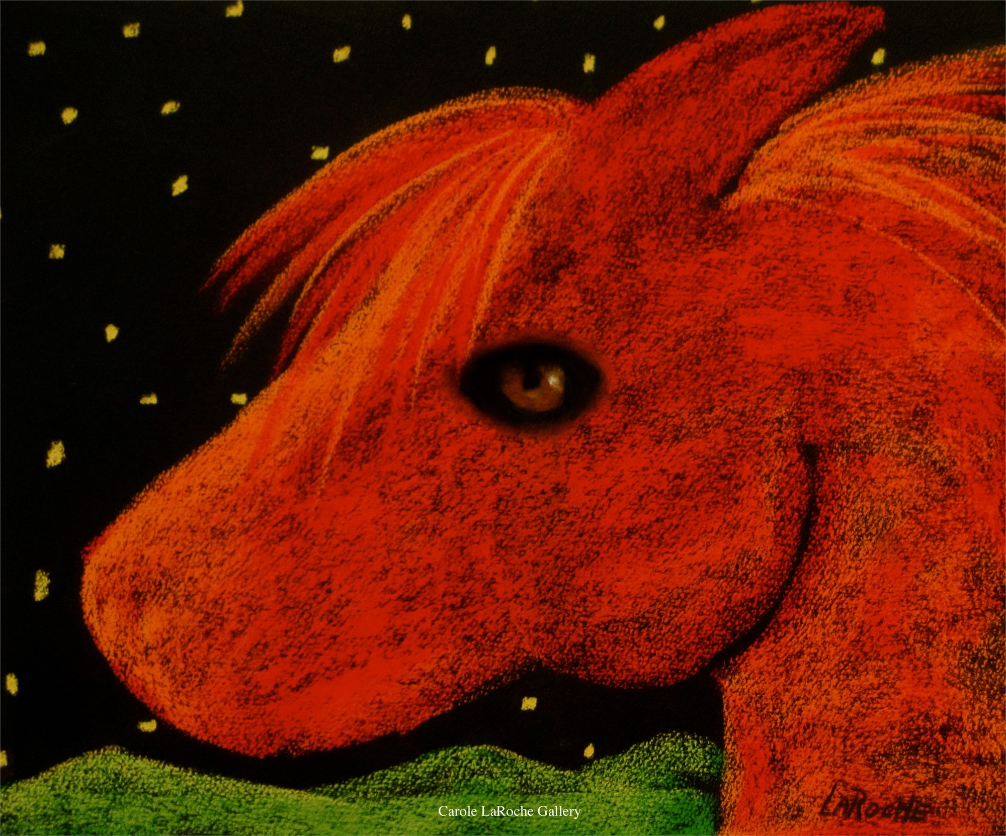 "RED PONY WITH STARS - limited edition giclee on canvas 20""x27"" by Carole LaRoche"