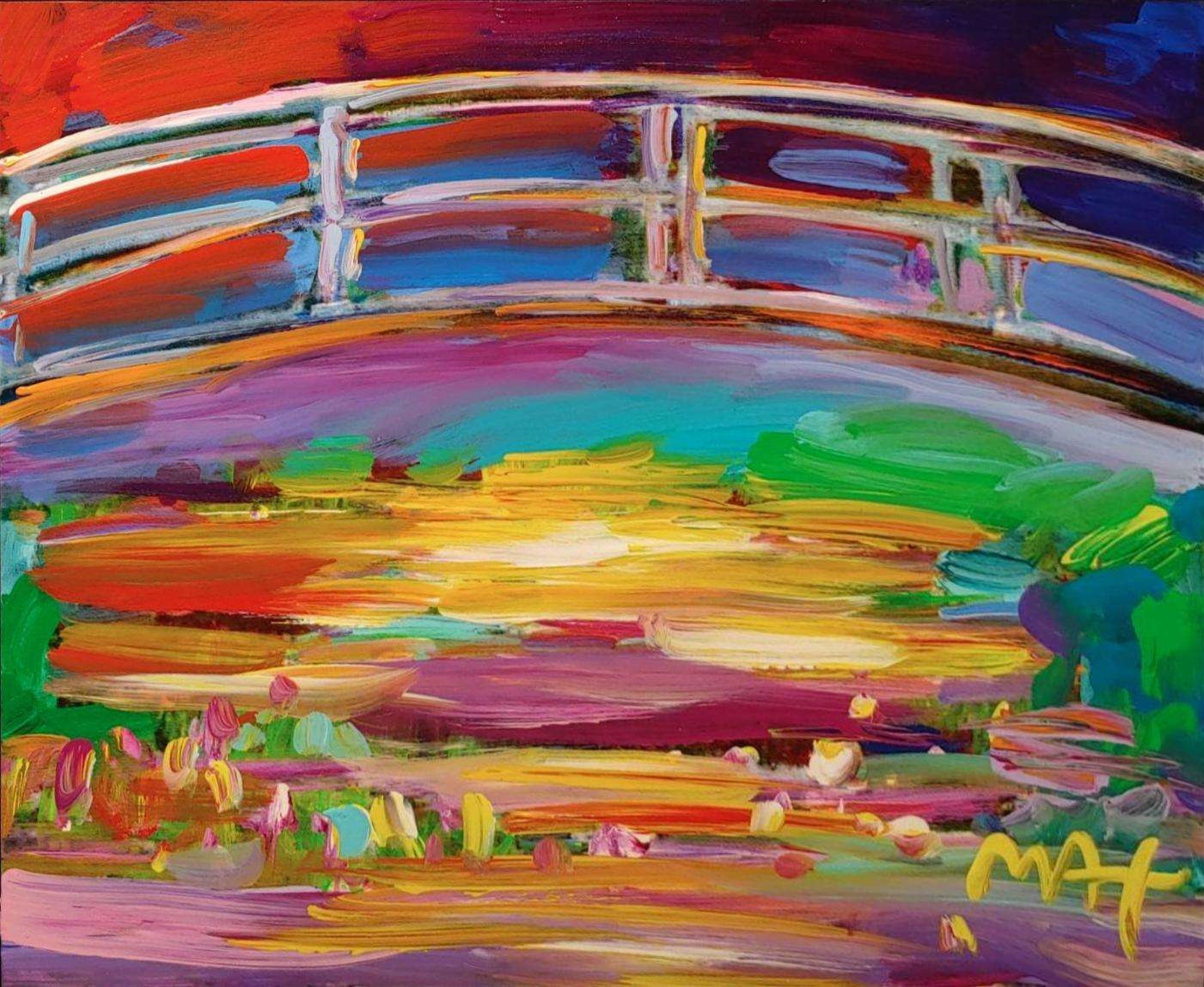 HOMAGE TO MONET: THE JAPANESE BRIDGE by Peter Max