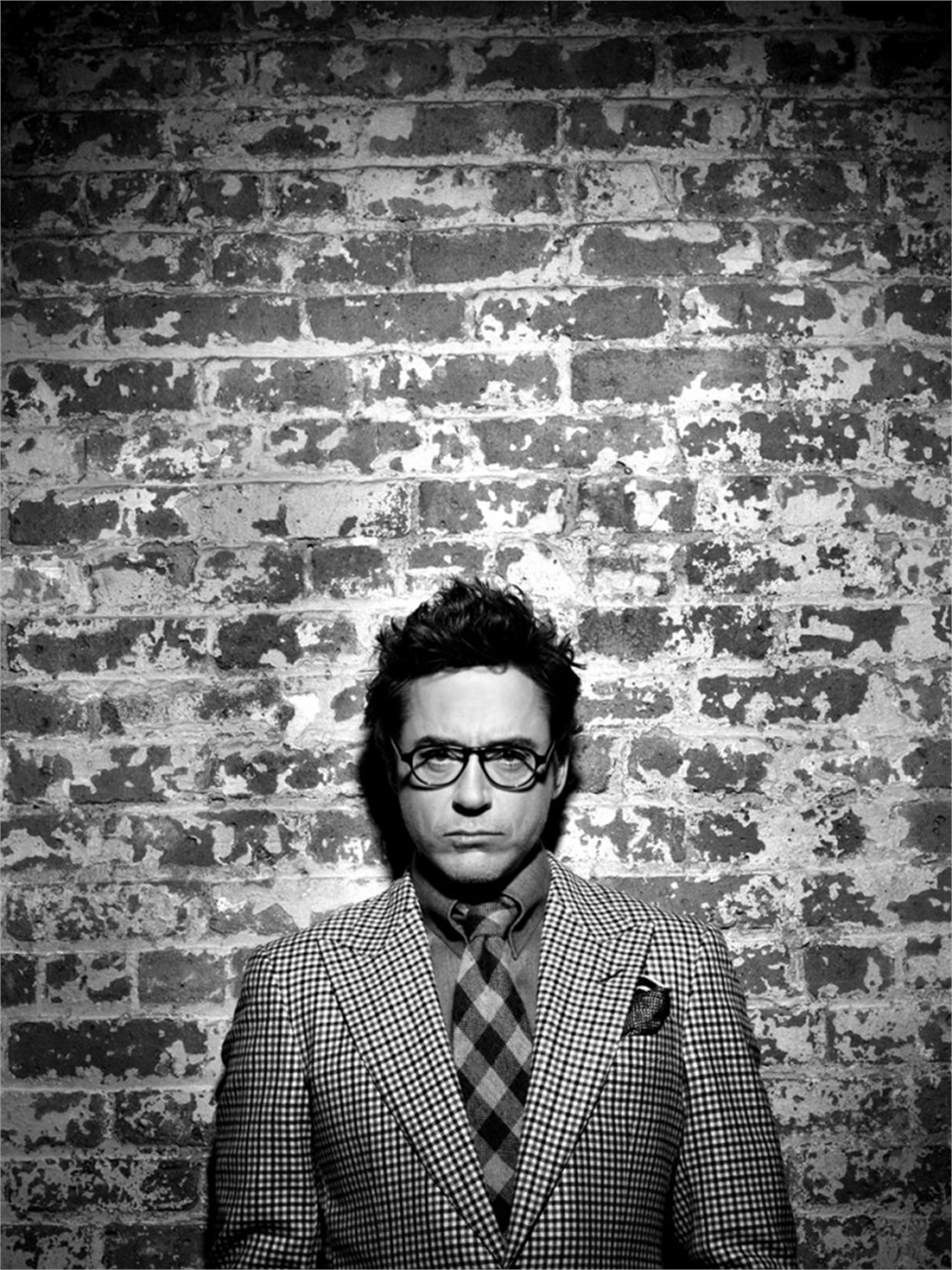 10003 Robert Downey Jr. Brick Wall BW by Timothy White