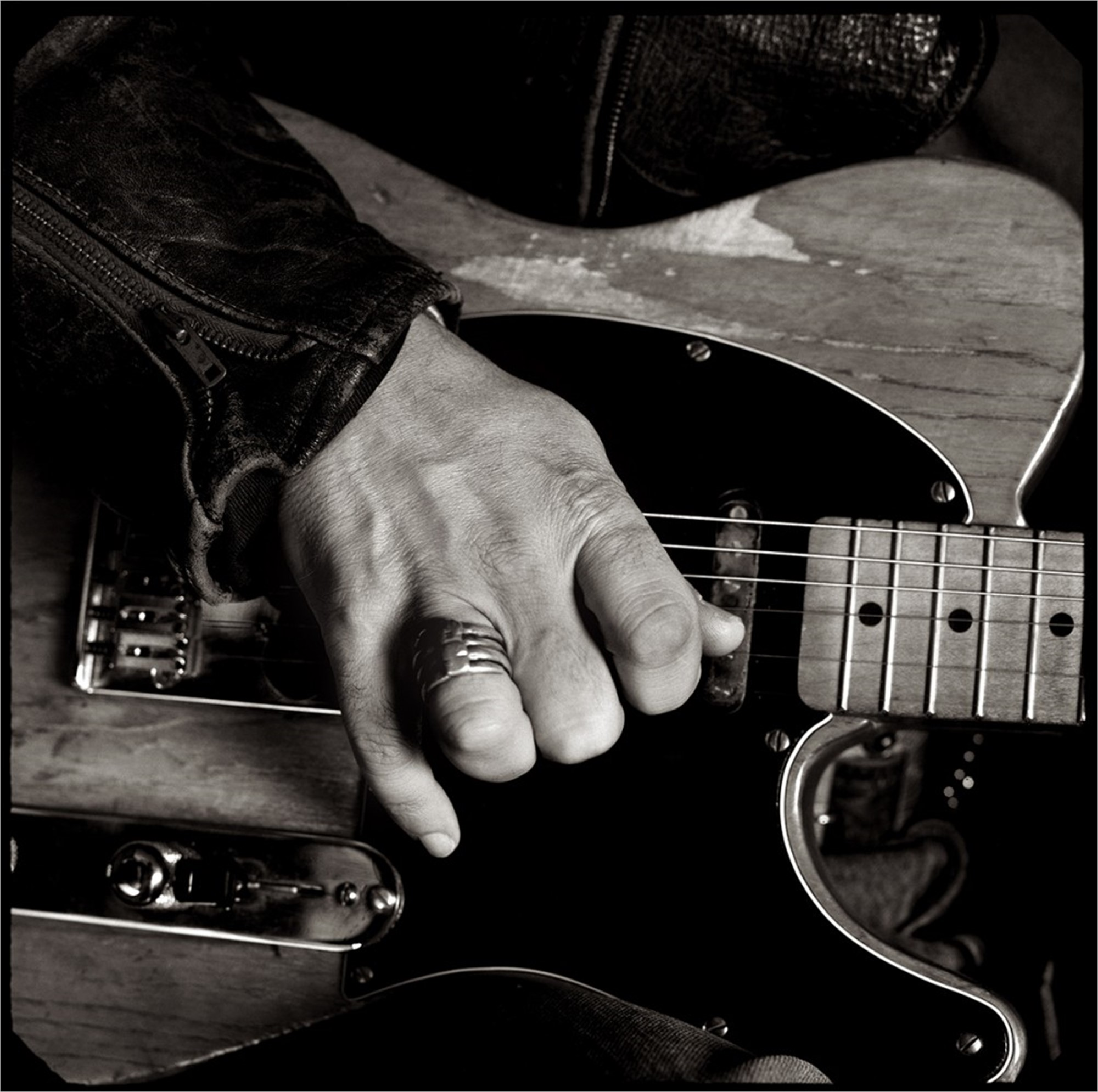 91152 Bruce Springsteen Hands and Fender BW by Timothy White