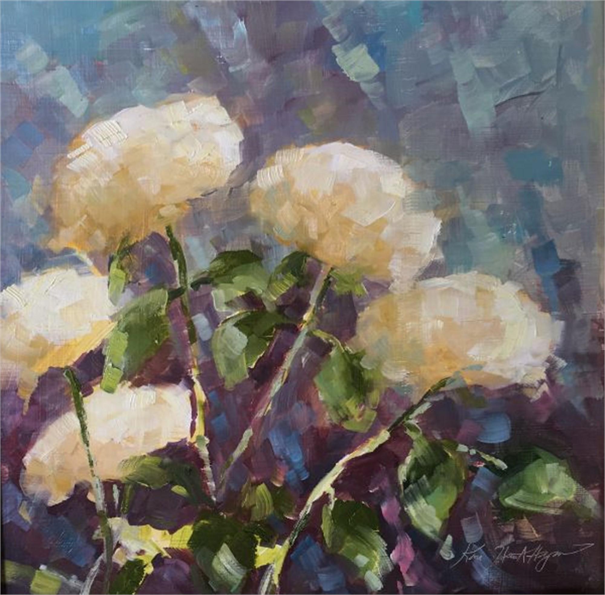 Five White Hydrangeas, Cashiers, NC by Karen Hewitt Hagan