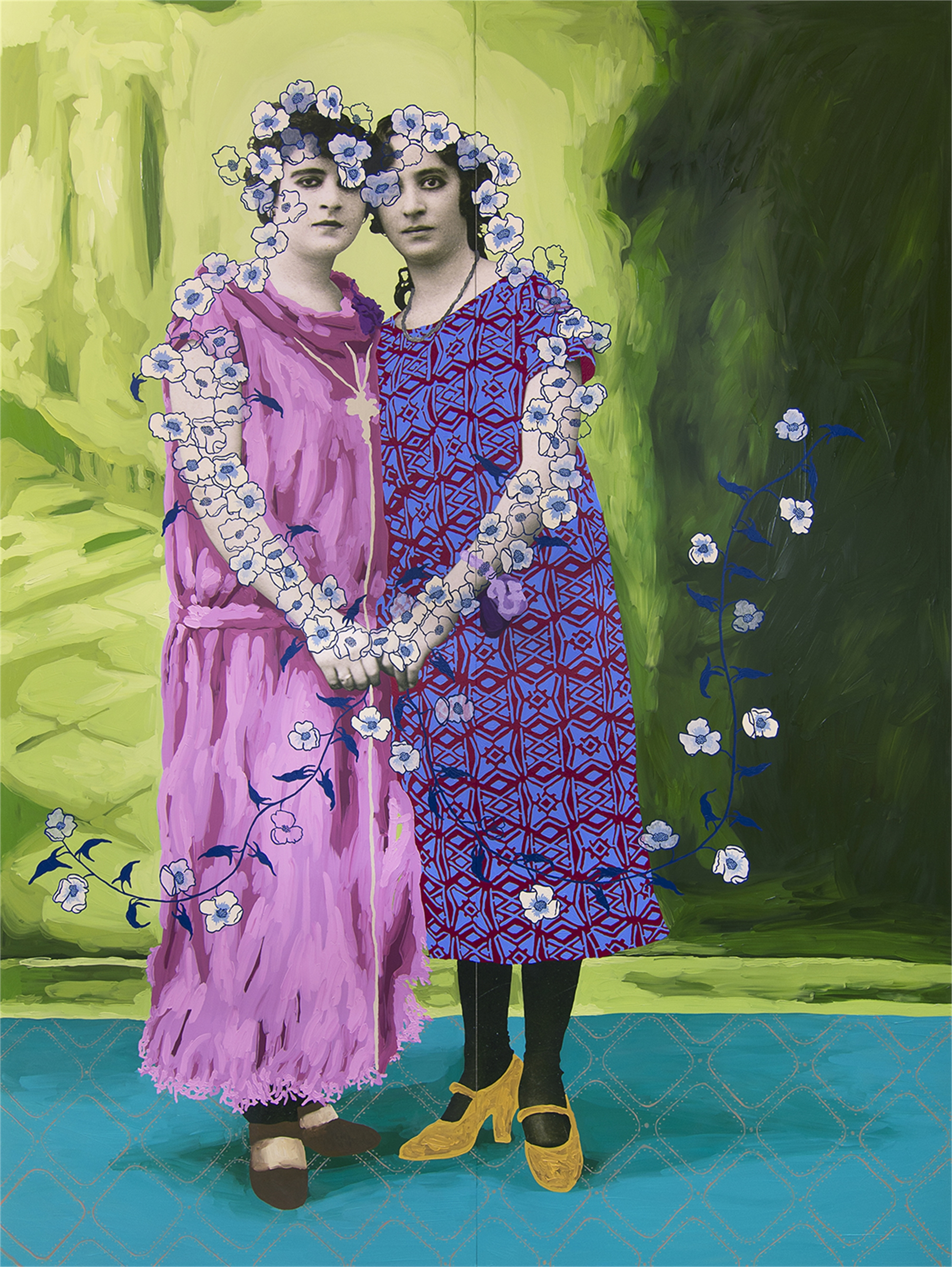 Untitled (Two Women Holding Hands with Cream and Blue Flowers) by Daisy Patton