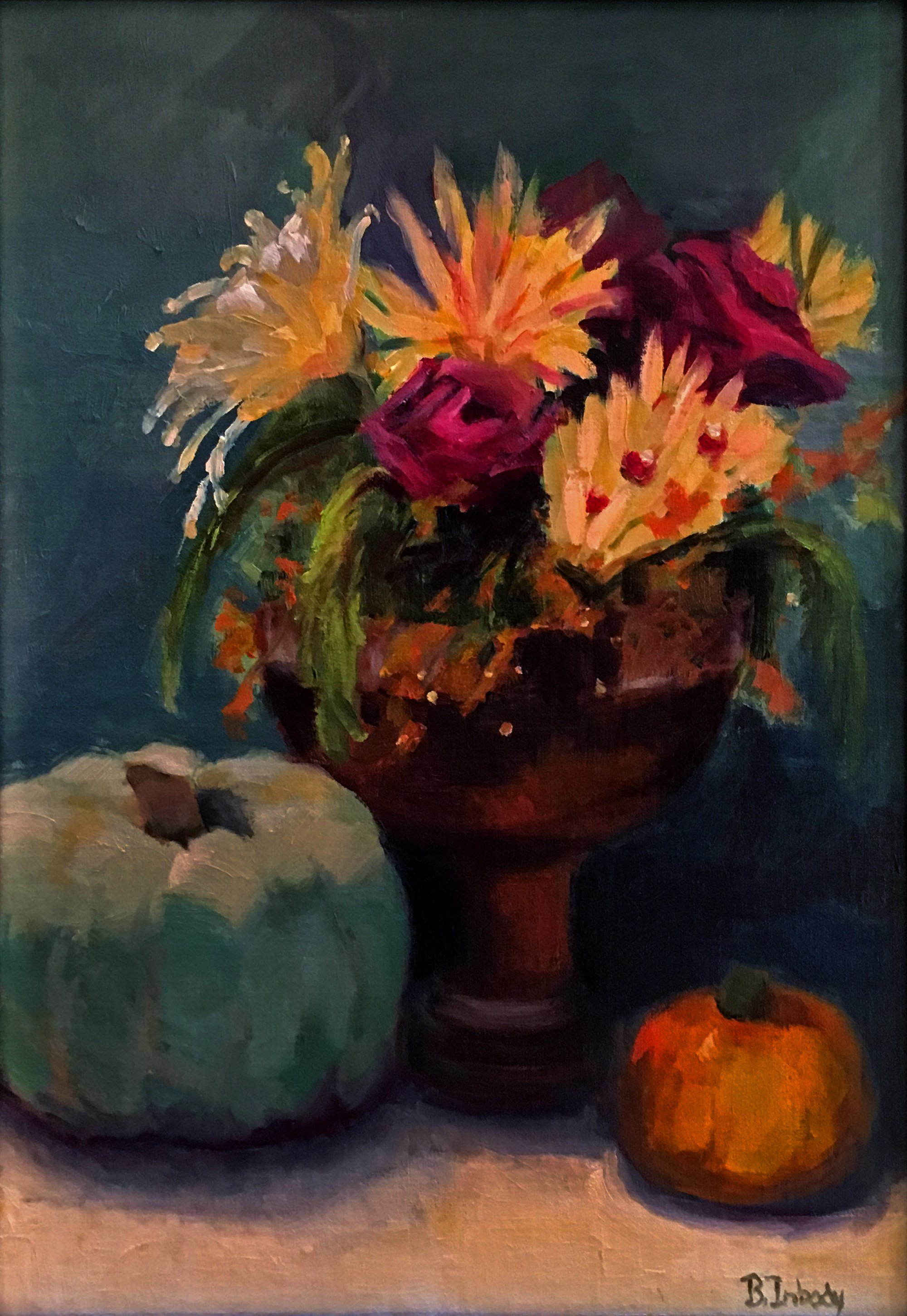 Floral with Pumpkins by B. Inbody