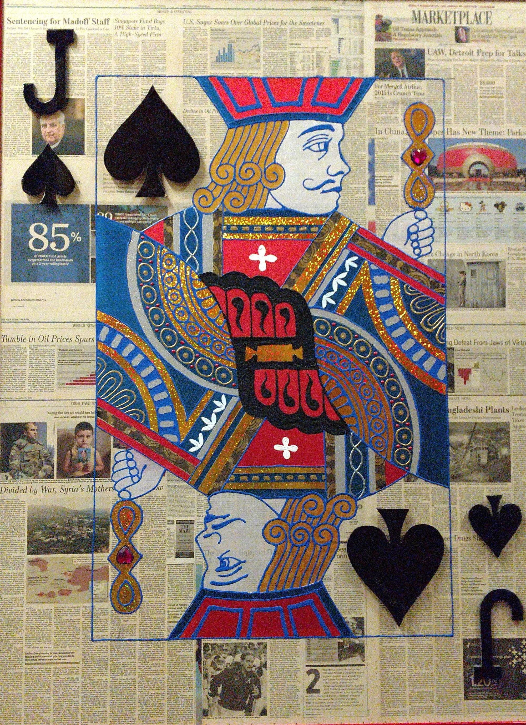 """Jack Of Spades"" Poker Cards on Wall Street Journal by Elena Bulatova"