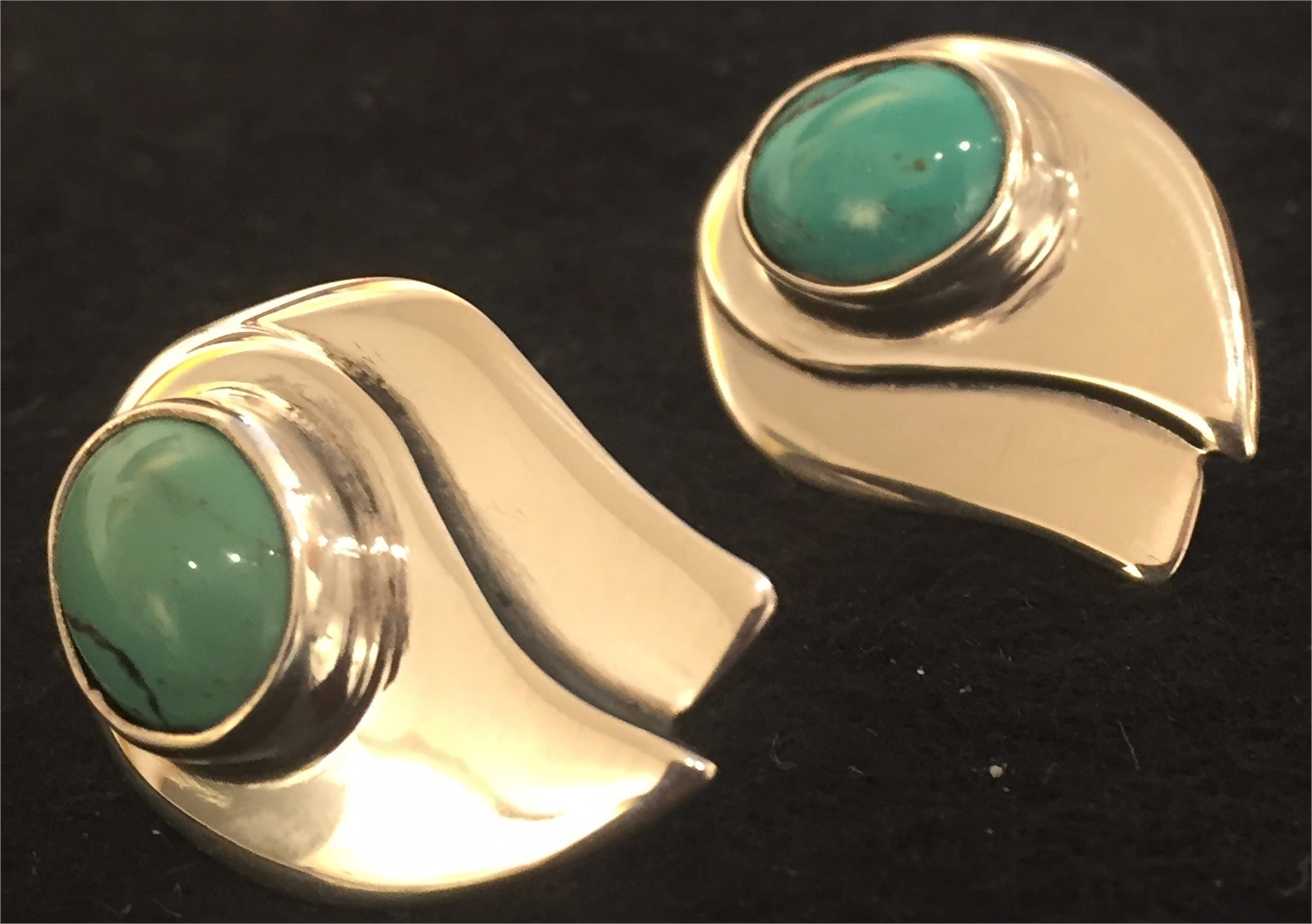 Sterling Tibetan Turquoise Post Earring 270 by Anne Forbes
