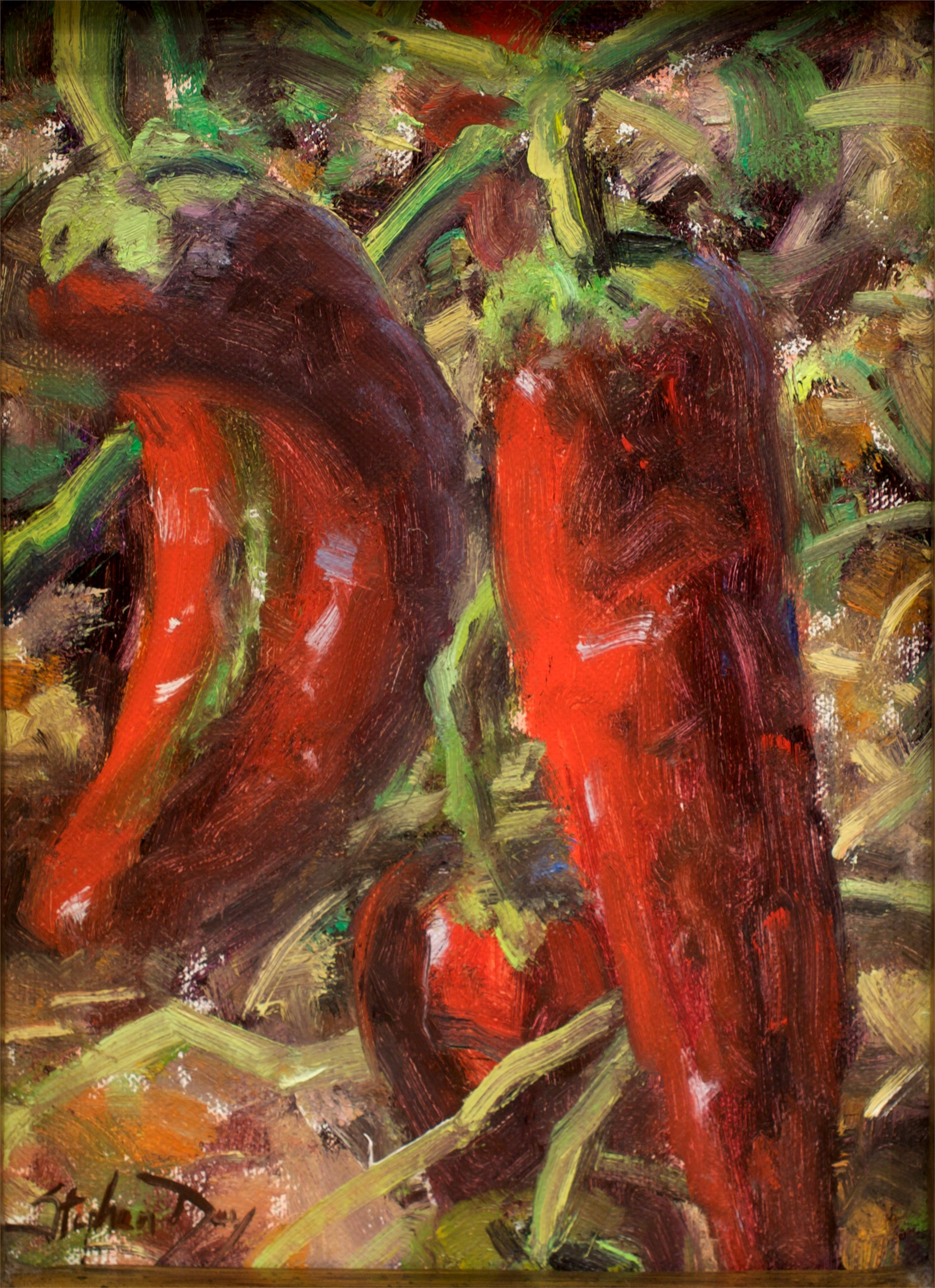 Hatch Peppers on the Vine by Stephen Day