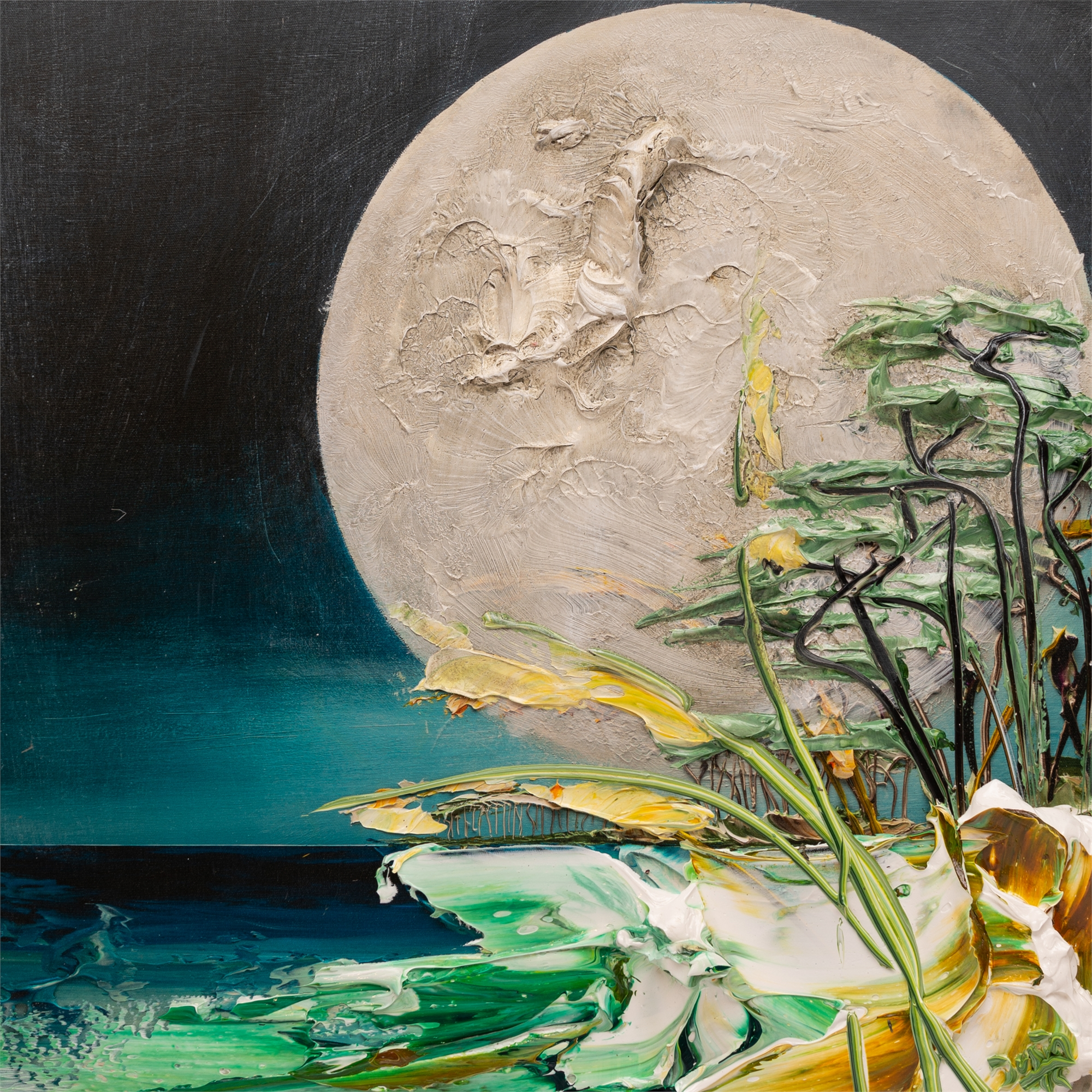 (SOLD) DUSK MOONSCAPE MS-HPAE-5-50-24X24-2019-60 by JUSTIN GAFFREY EDITIONS