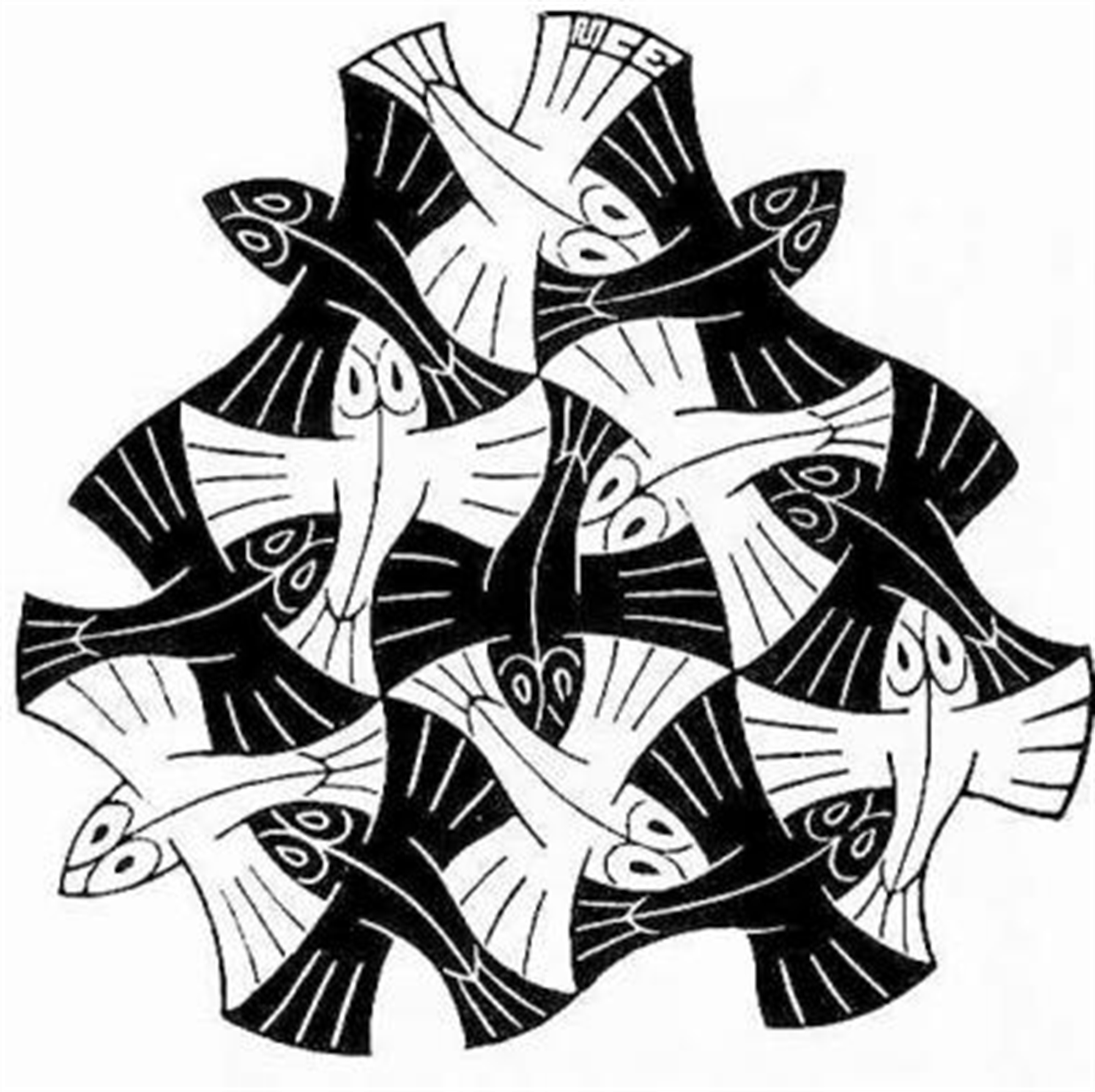 Fish Vignette by M.C. Escher