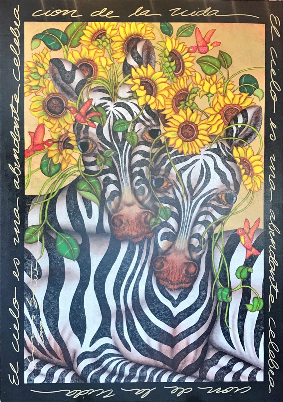 Heavenly Zebras Manes Made Of Flowers by Luis Sottil